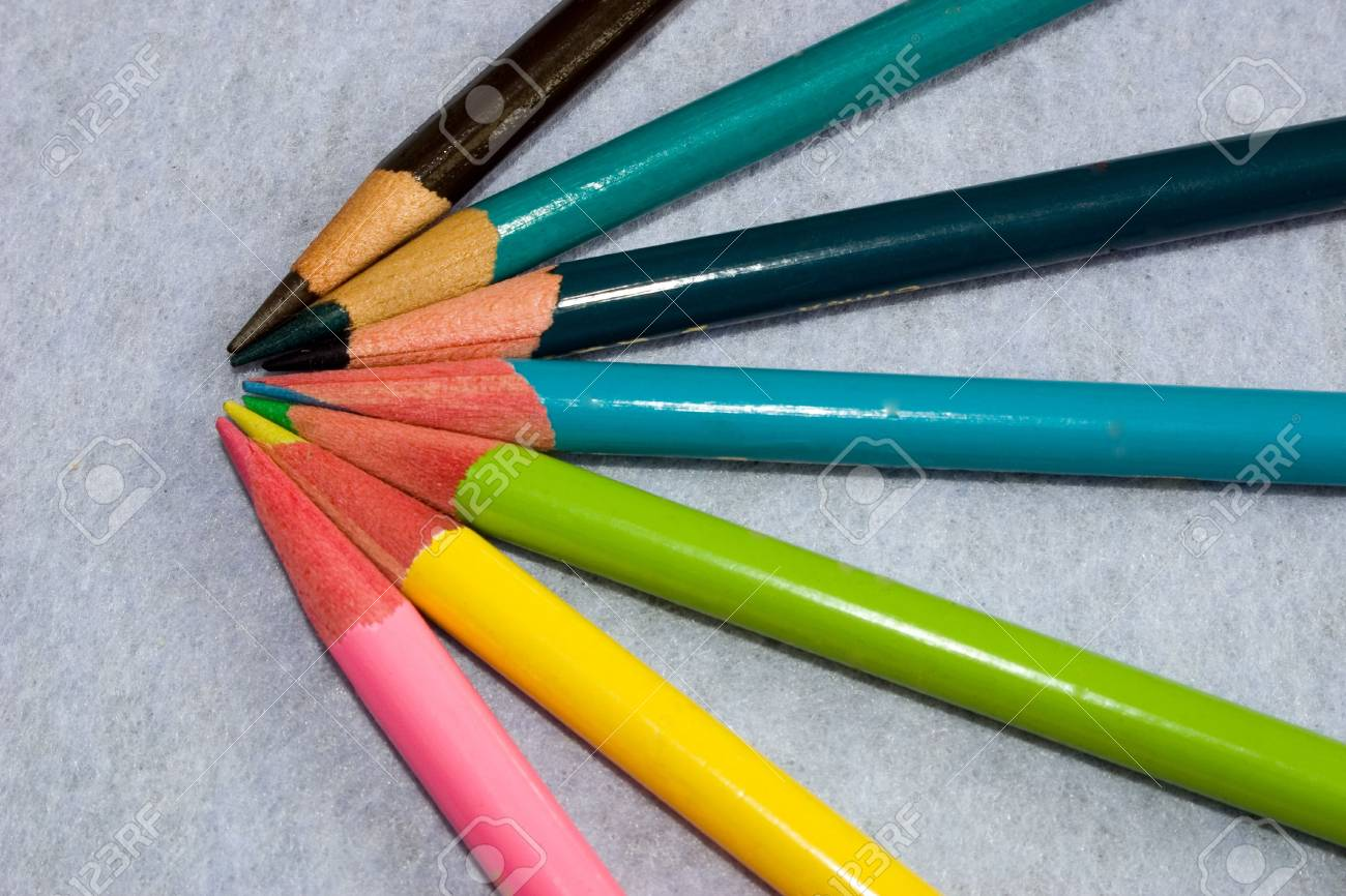 sharpened crayons pencils on a light background - 2189595