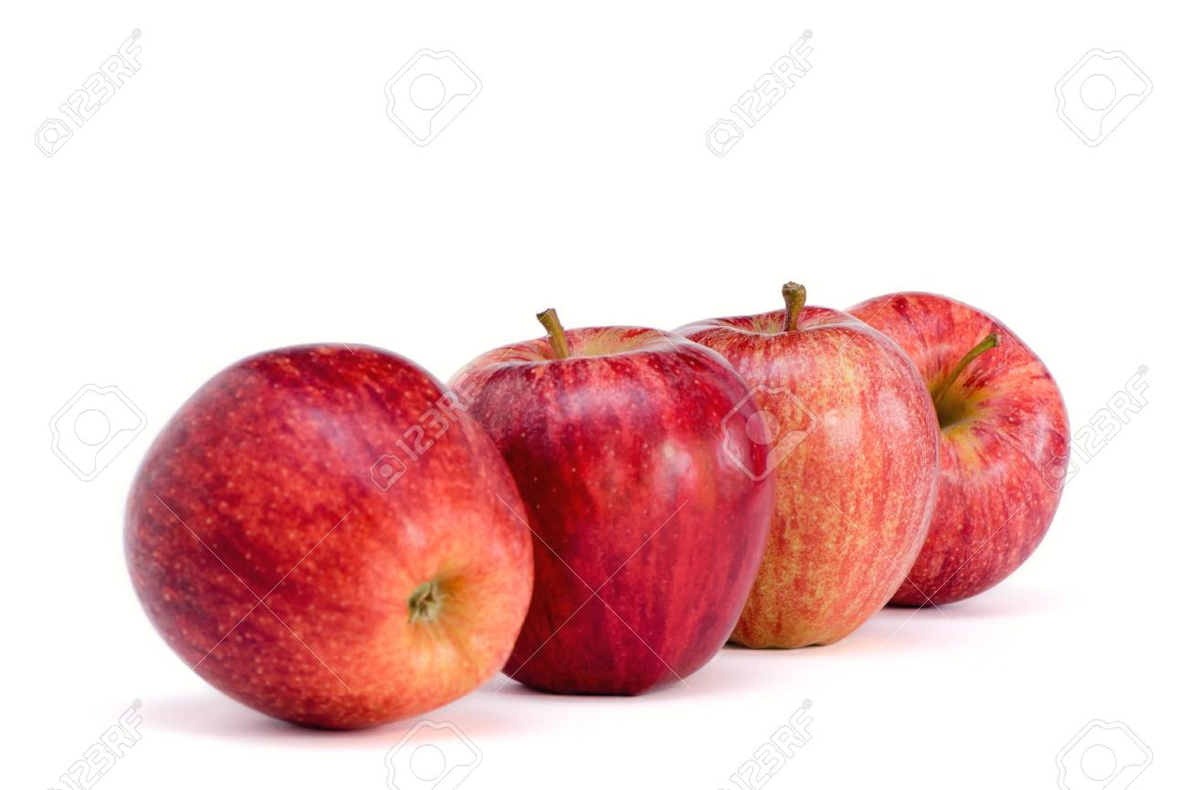 four apples isolated on the white background stock photo picture