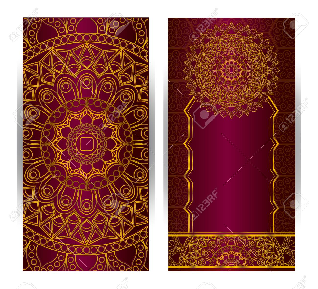 Wedding Invitation Or Card . Flower Mandala . Vintage Decorative ...