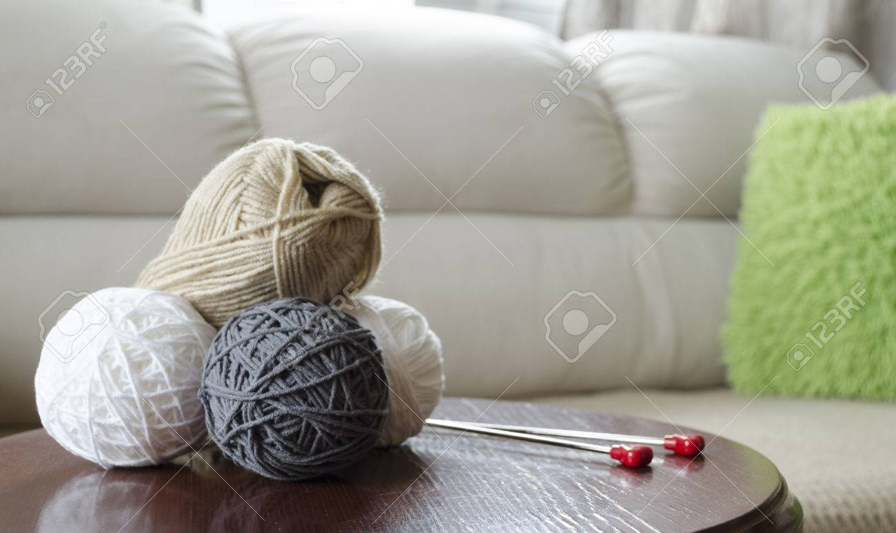 Garn Wolle Kugel Nadel Faser Faden Knäuel Aus Wolle