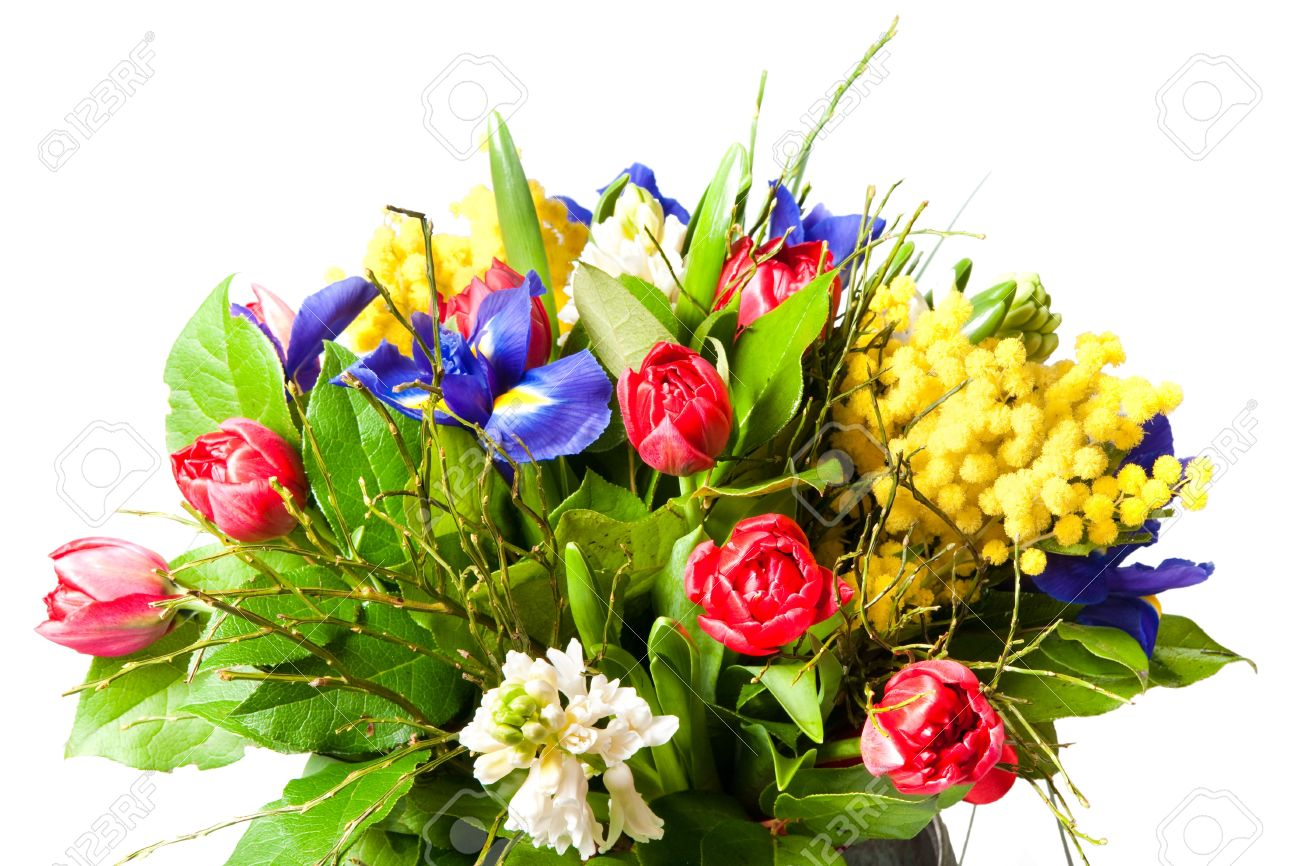 beautiful bouquet of flowers isolated on white Stock Photo - 6759498