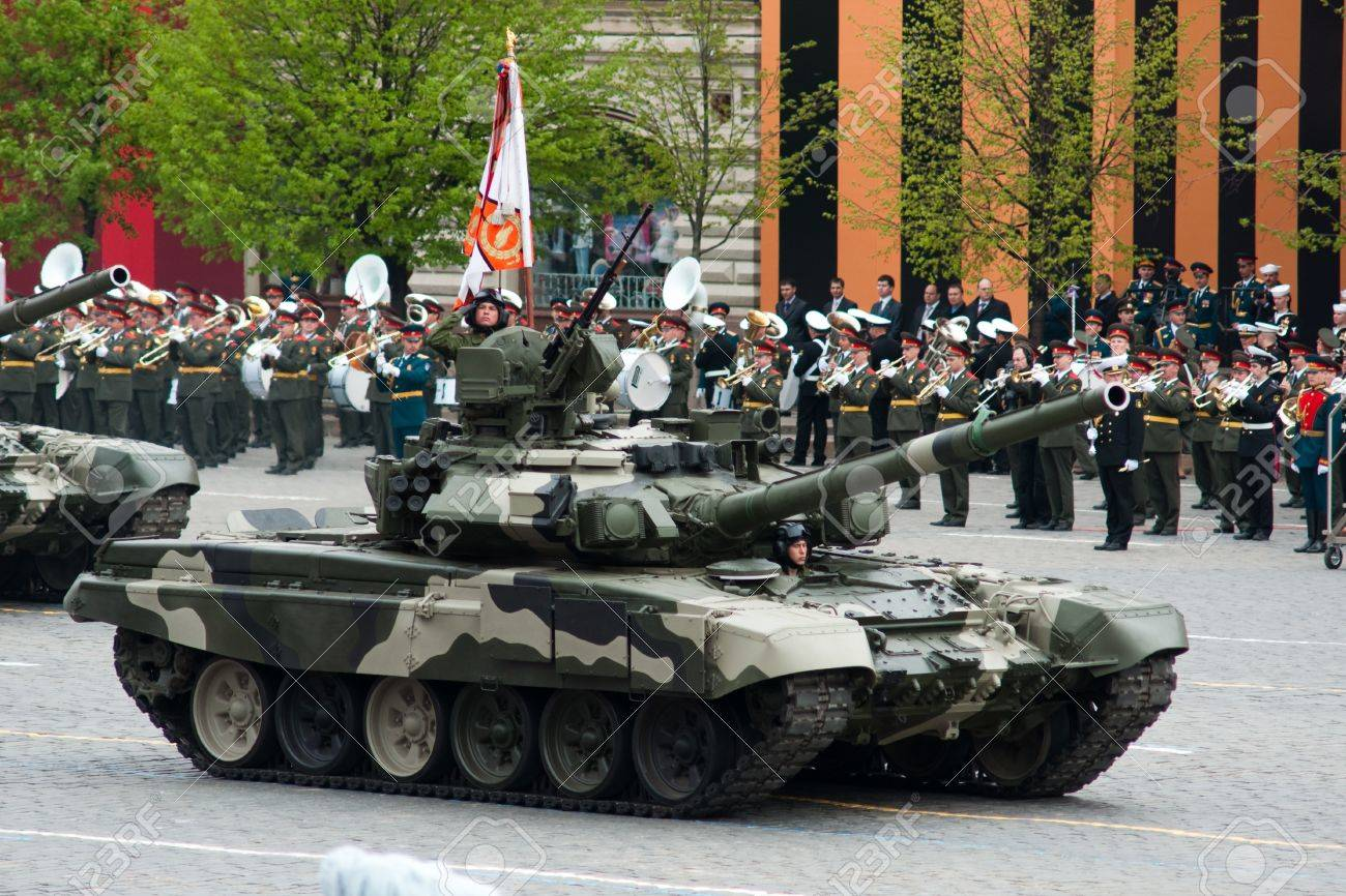 Main battle tank T-90. Dress rehearsal of Military Parade on 65th anniversary of Victory in Great Patriotic War on May 6, 2010 on Red Square in Moscow, Russia Stock Photo - 6961719