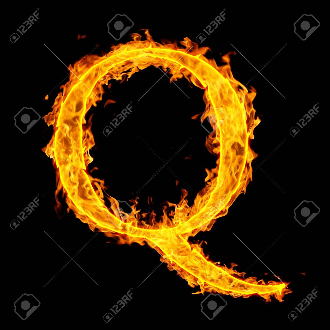 q ,fire letter Stock Photo - 7952089