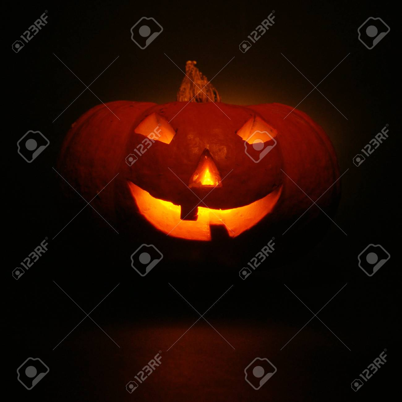 lantern, illuminating pumpkin in dark night Stock Photo - 10694461