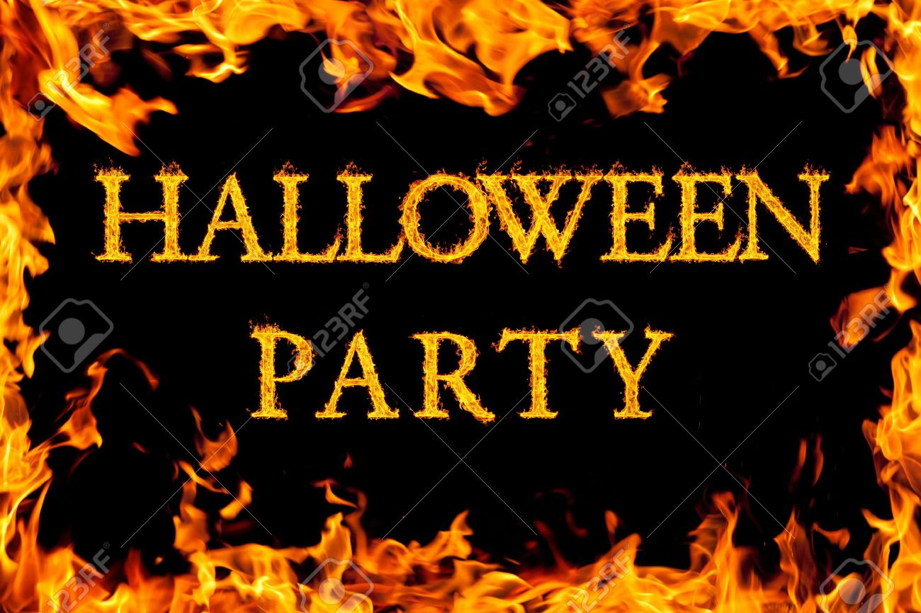halloween party in fire frame stock photo 10694604 - Holloween Party