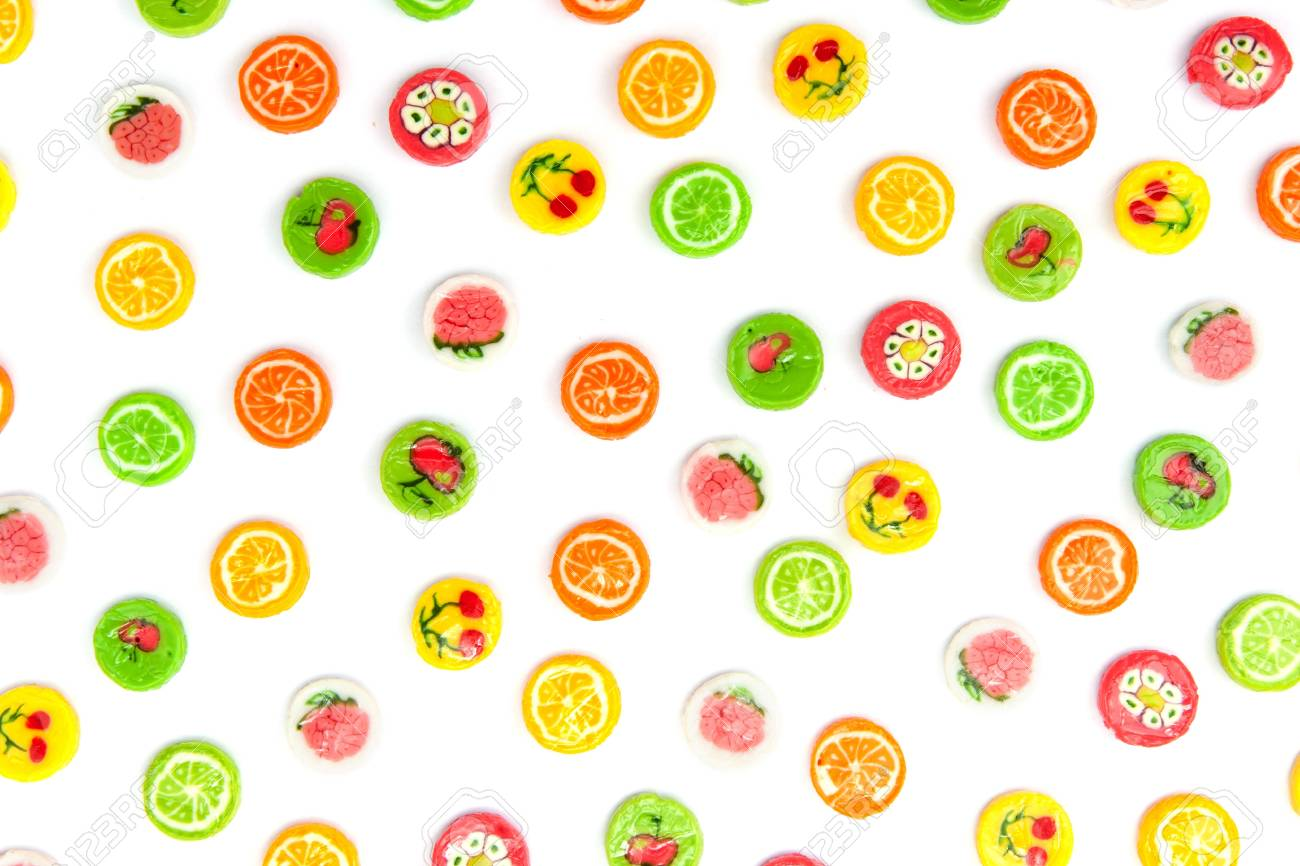 many differnt tasty candies on white Stock Photo - 17989773
