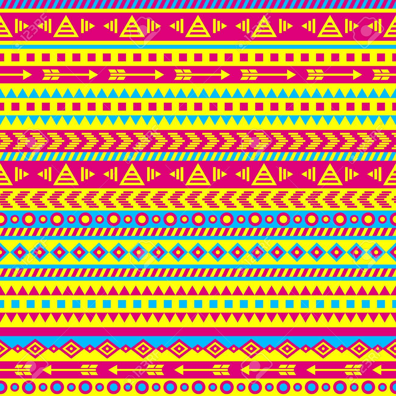 vector seamless aztec pattern in bright color scheme royalty free