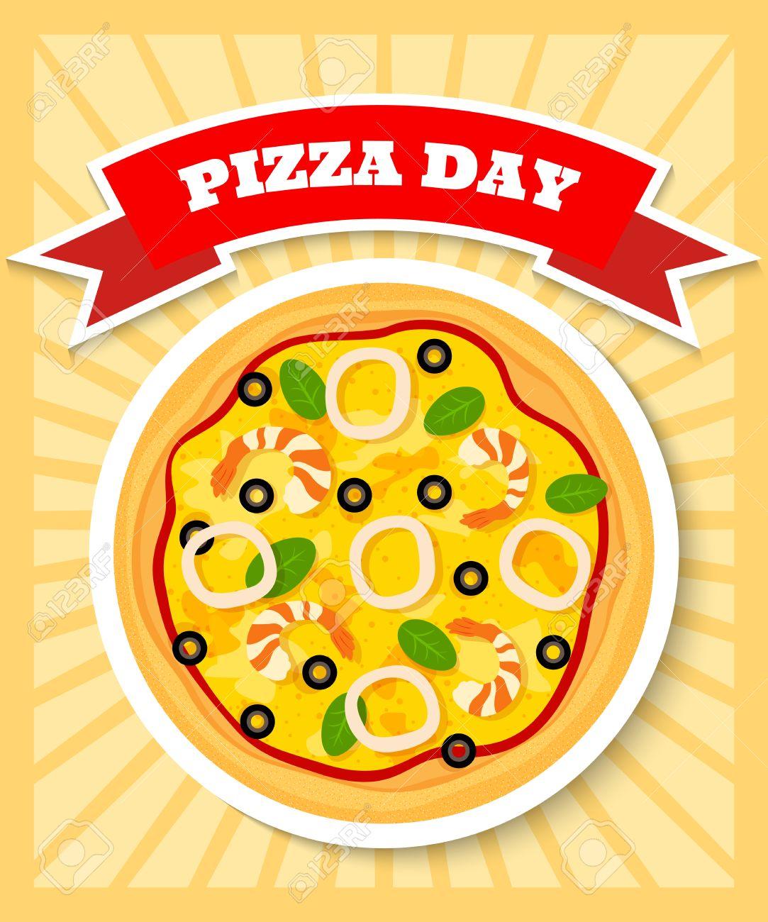 Brillante Y Colorido Plantilla Del Cartel Para El Día De La Pizza ...