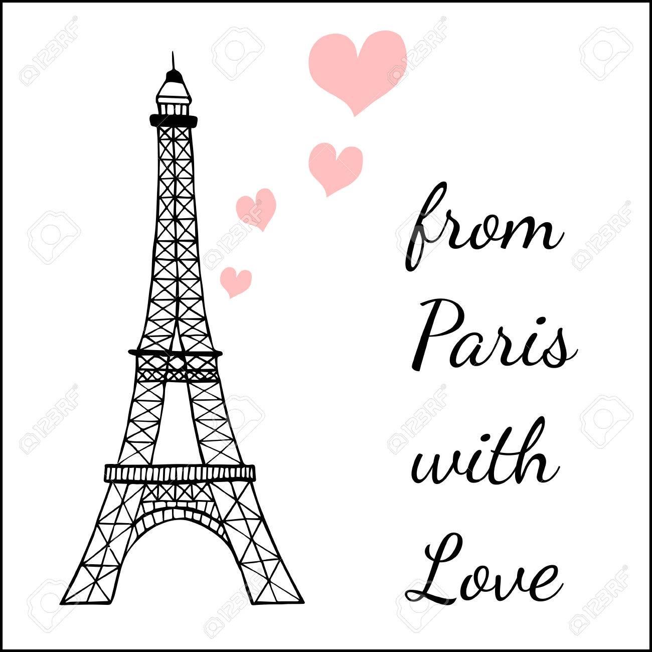 París Plantilla De La Postal Inspirada Con Imágenes Ofthe Torre ...