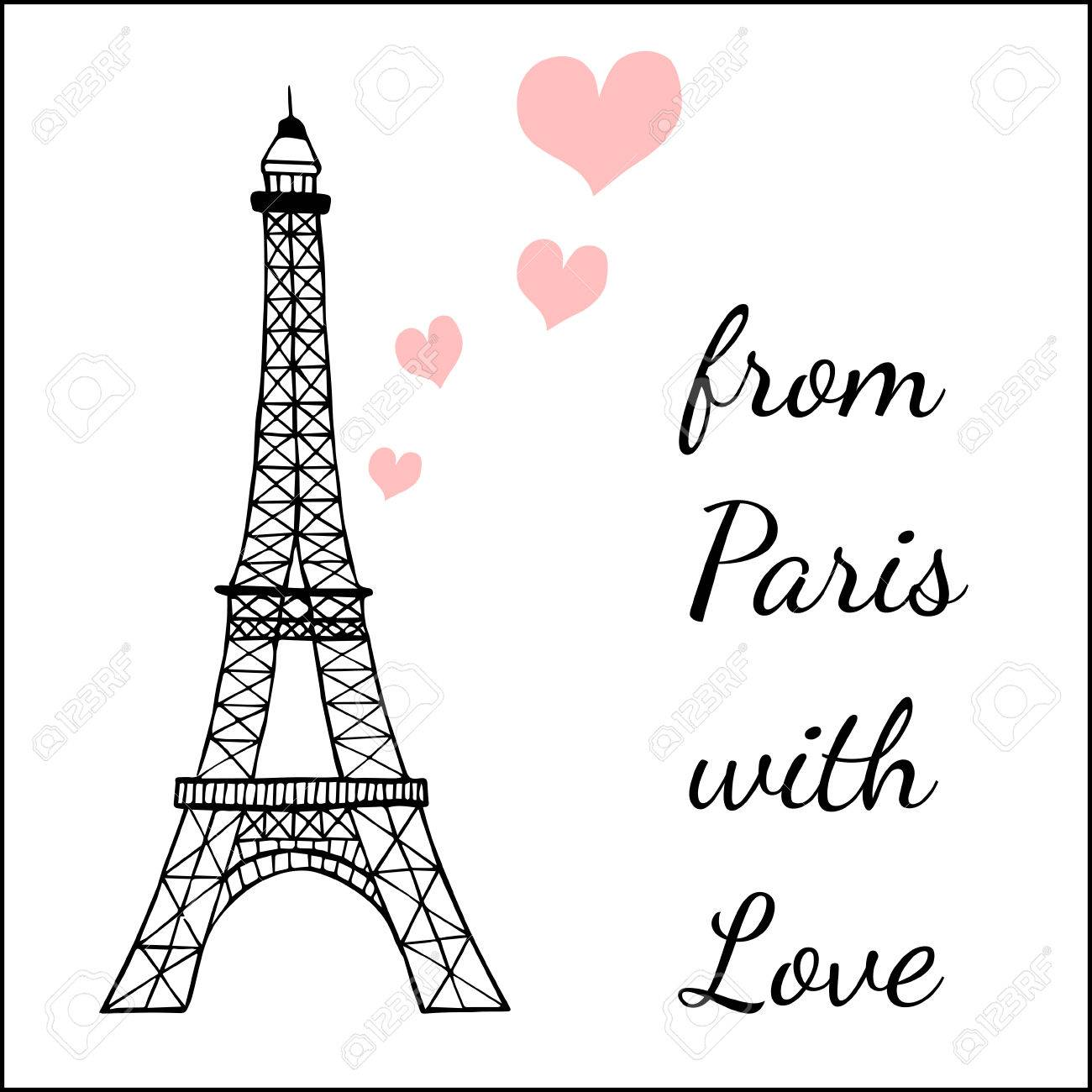 paris inspired postcard template with images ofthe eiffel tower