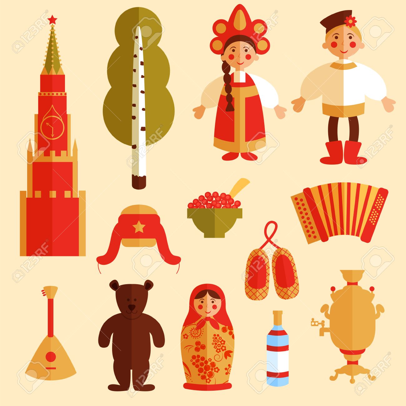set of russian icons traditional russian symbols russian culture vector set of russian icons traditional russian symbols russian culture