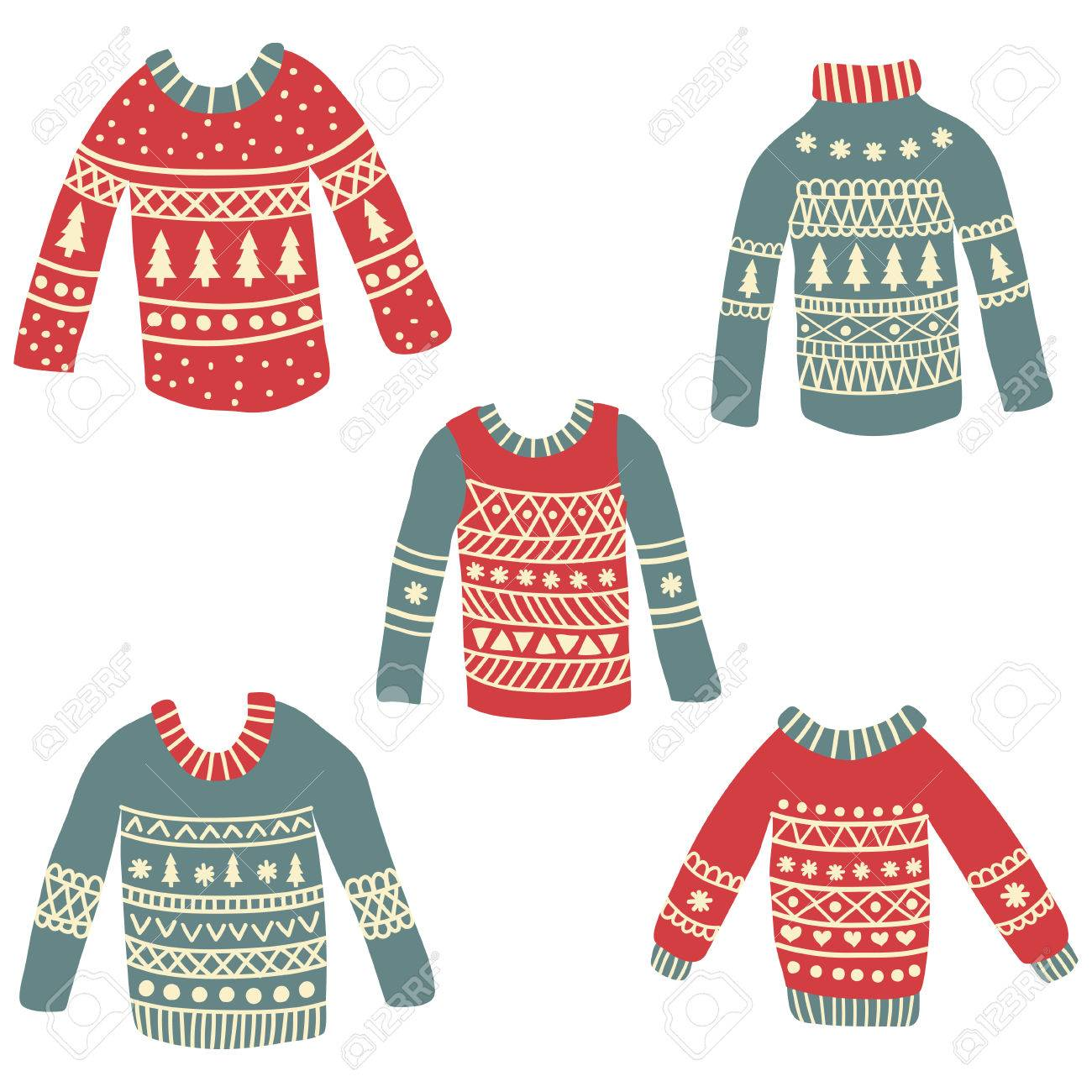 Christmas Sweaters Cute.Set Of Of Cute Hand Drawn Ugly Christmas Sweaters On Isolated