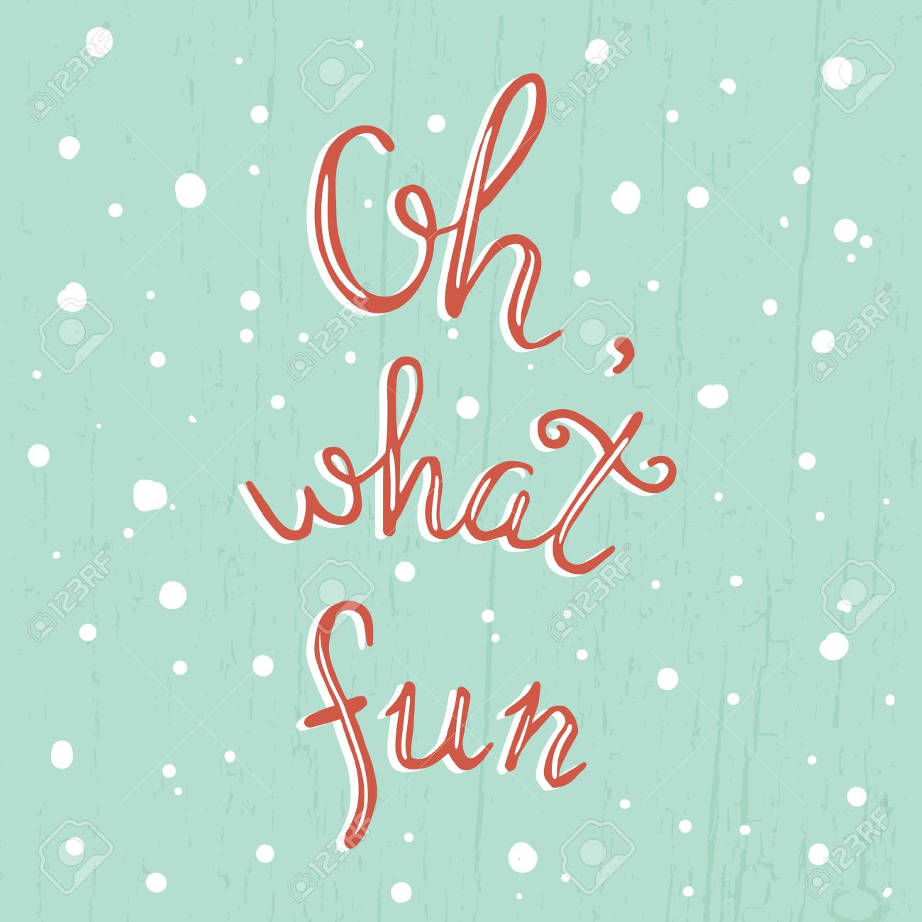 Vector Template Of Christmas Greeting Card With Oh, What Fun ...