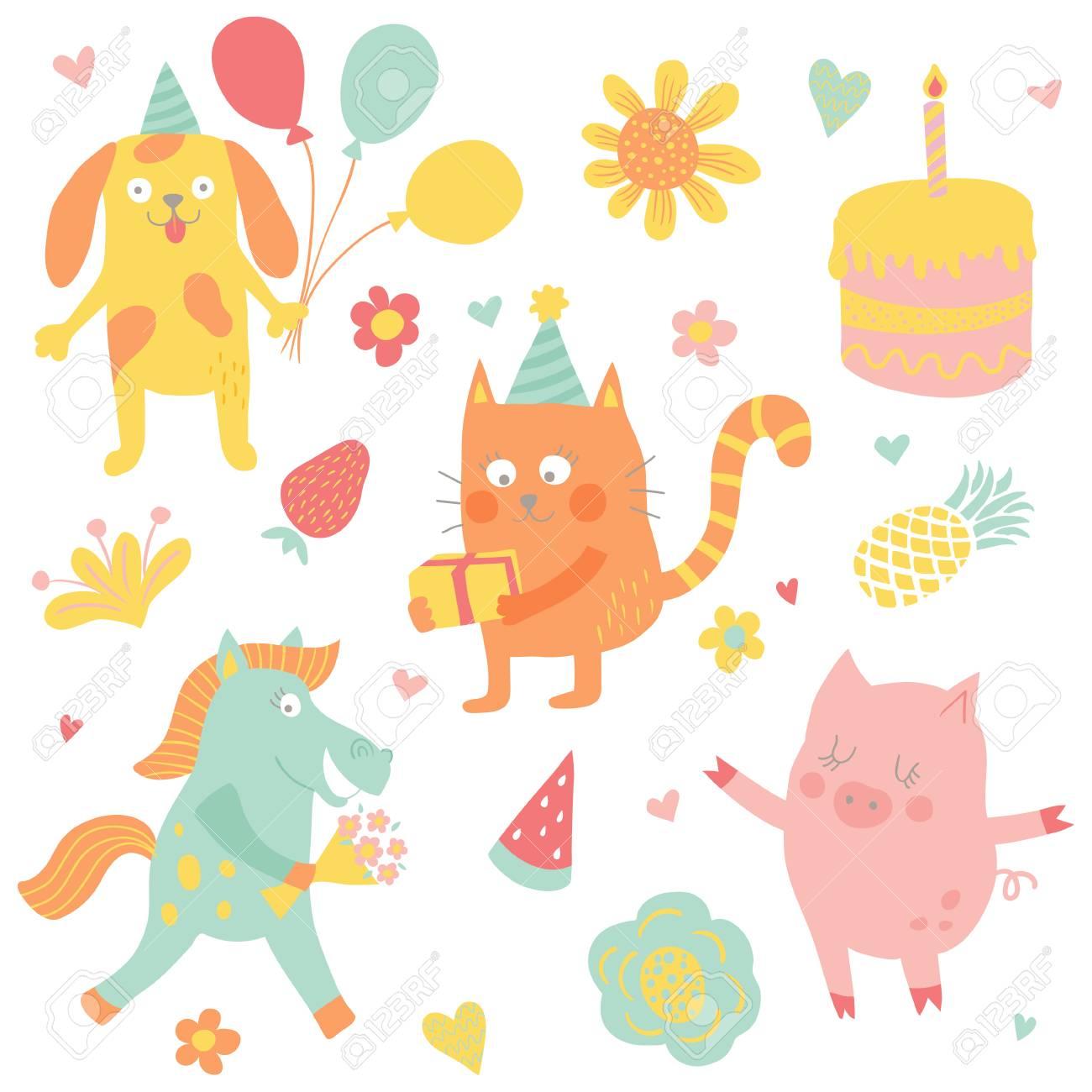かわいいイラスト - 誕生日パーティーに変な動物のベクトルを設定