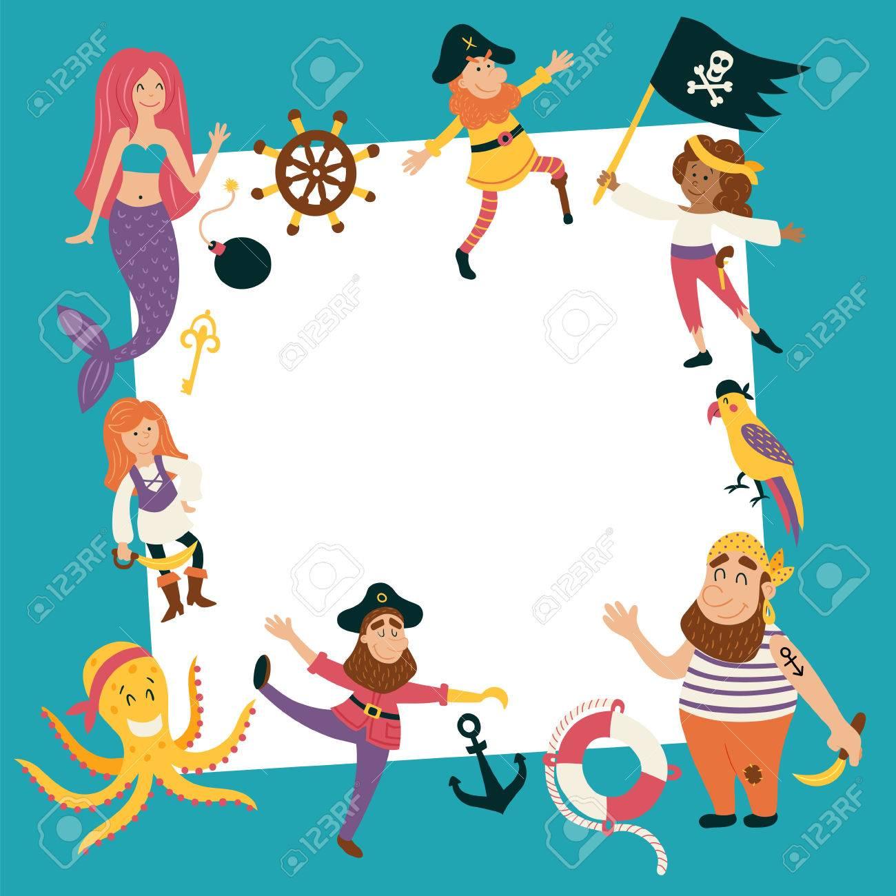 Vector, Plantilla, Cumpleaños, Tarjeta, Imágenes, Lindo, Pirata ...