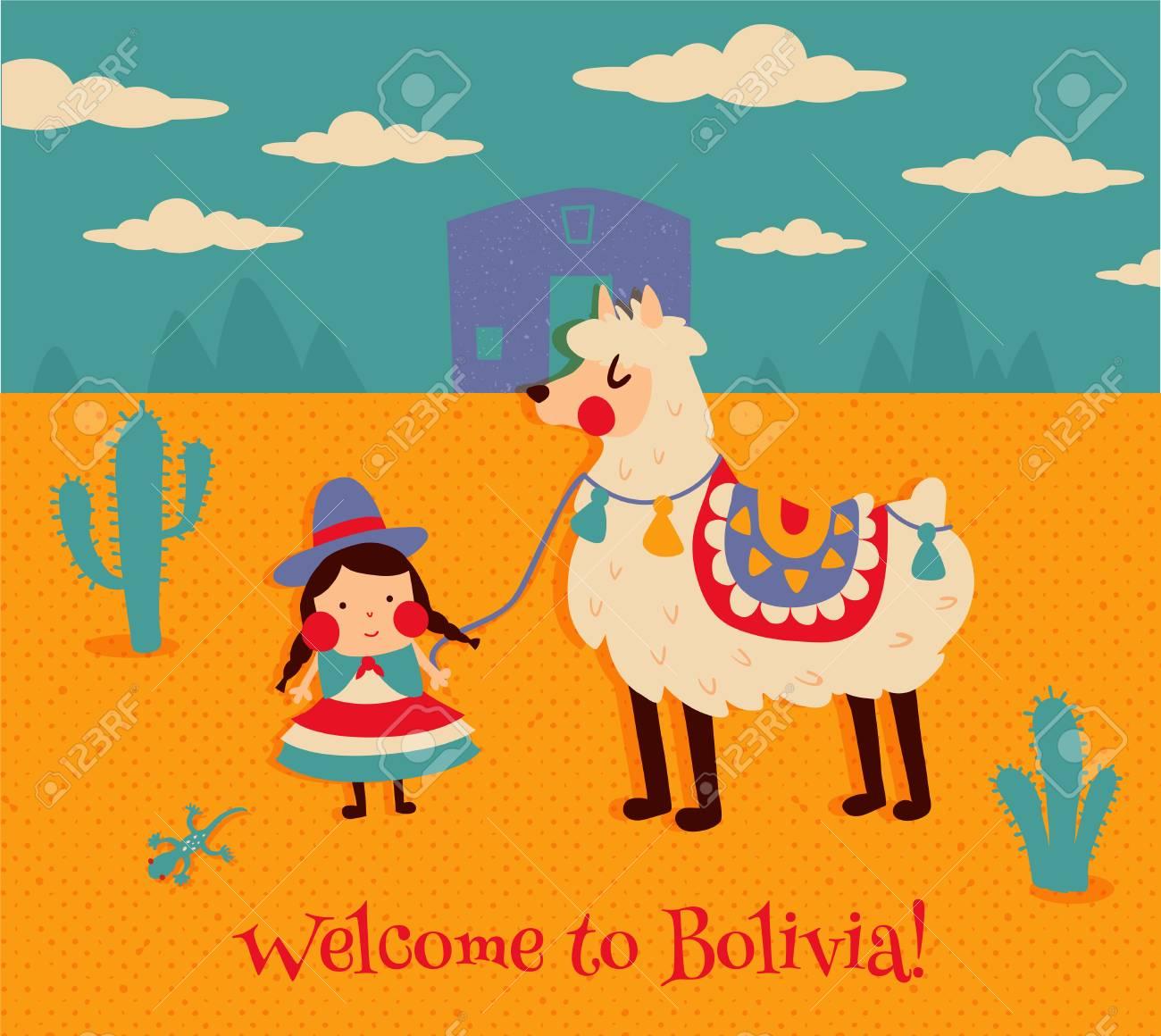 vector illustration, cute bolivian girl in traditional cholita