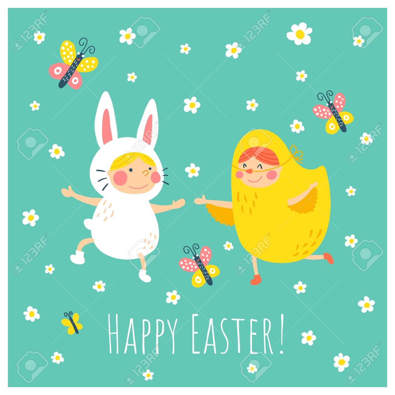 Easter vector greeting card template funny children wearing easter vector greeting card template funny children wearing costumes of a bunny and chicken are m4hsunfo