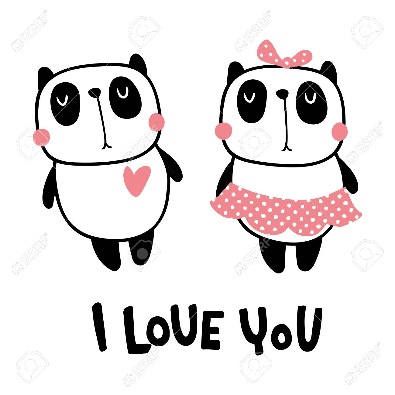 Vector illustration, cute panda couple and i love you hand lettering text - 101150473