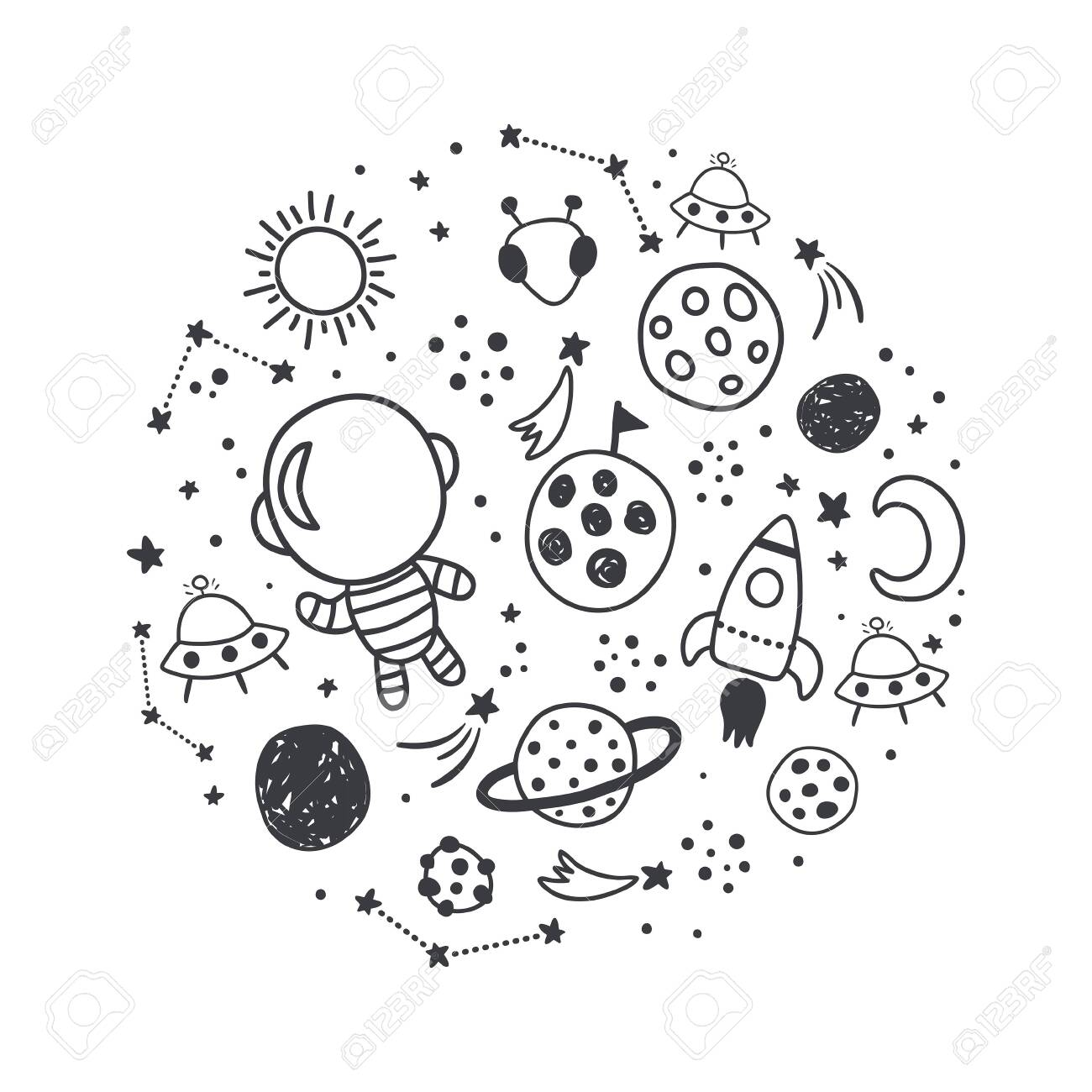 vector illustration, space related images arranged in a circle - 146439590