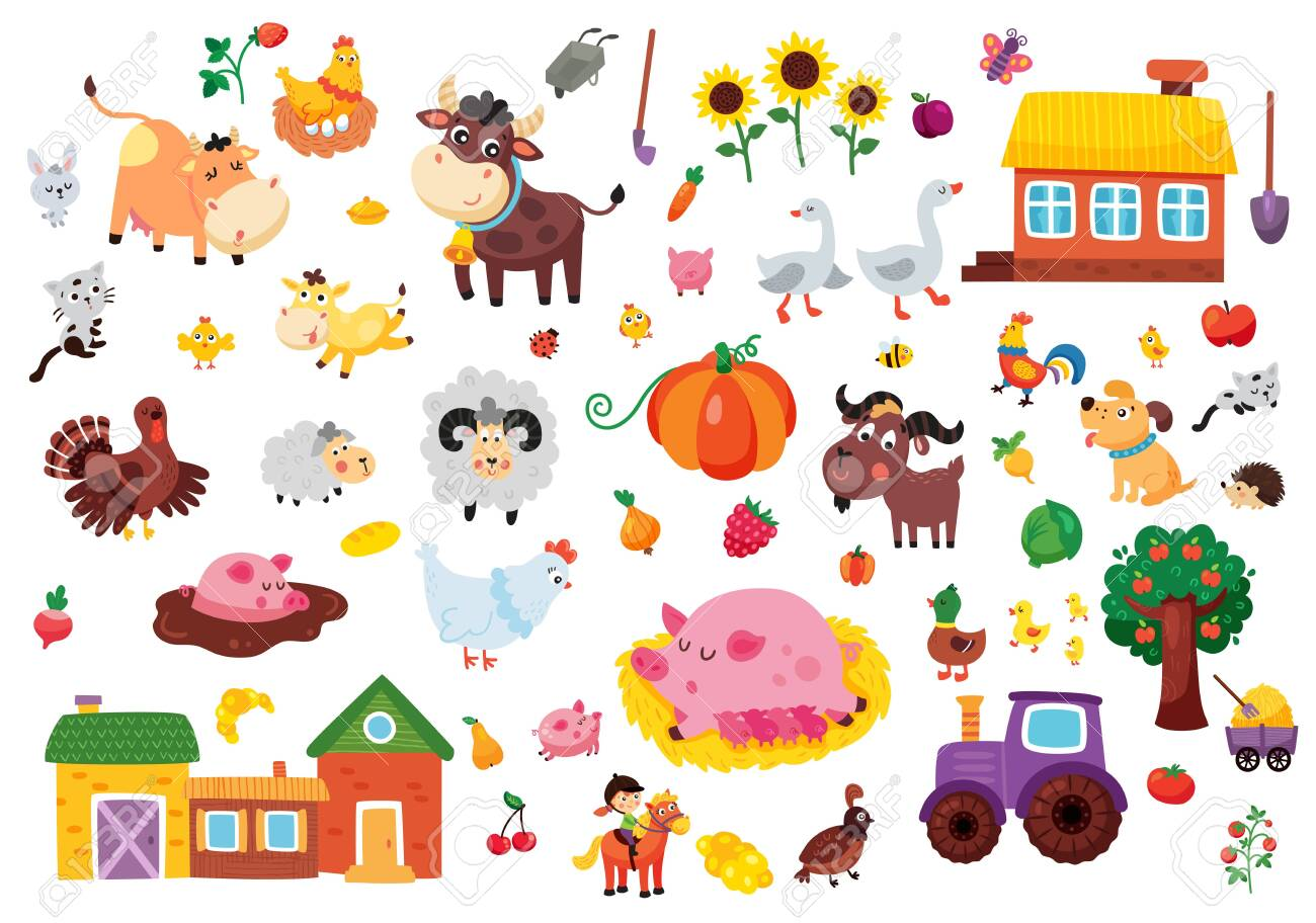 Vector Set Of Farm Related Objects Animals Houses Fruit And Vegetables Royalty Free Cliparts Vectors And Stock Illustration Image 147420456