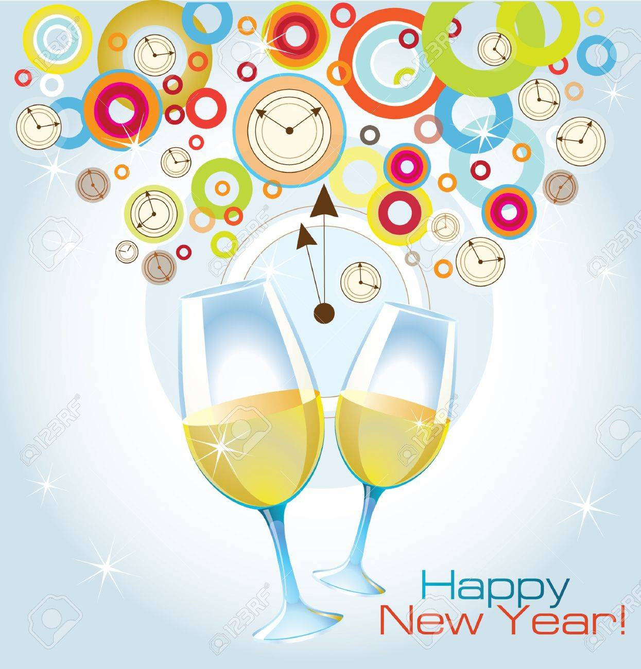 vector card happy new year with glasses of champagne stock vector 10345768