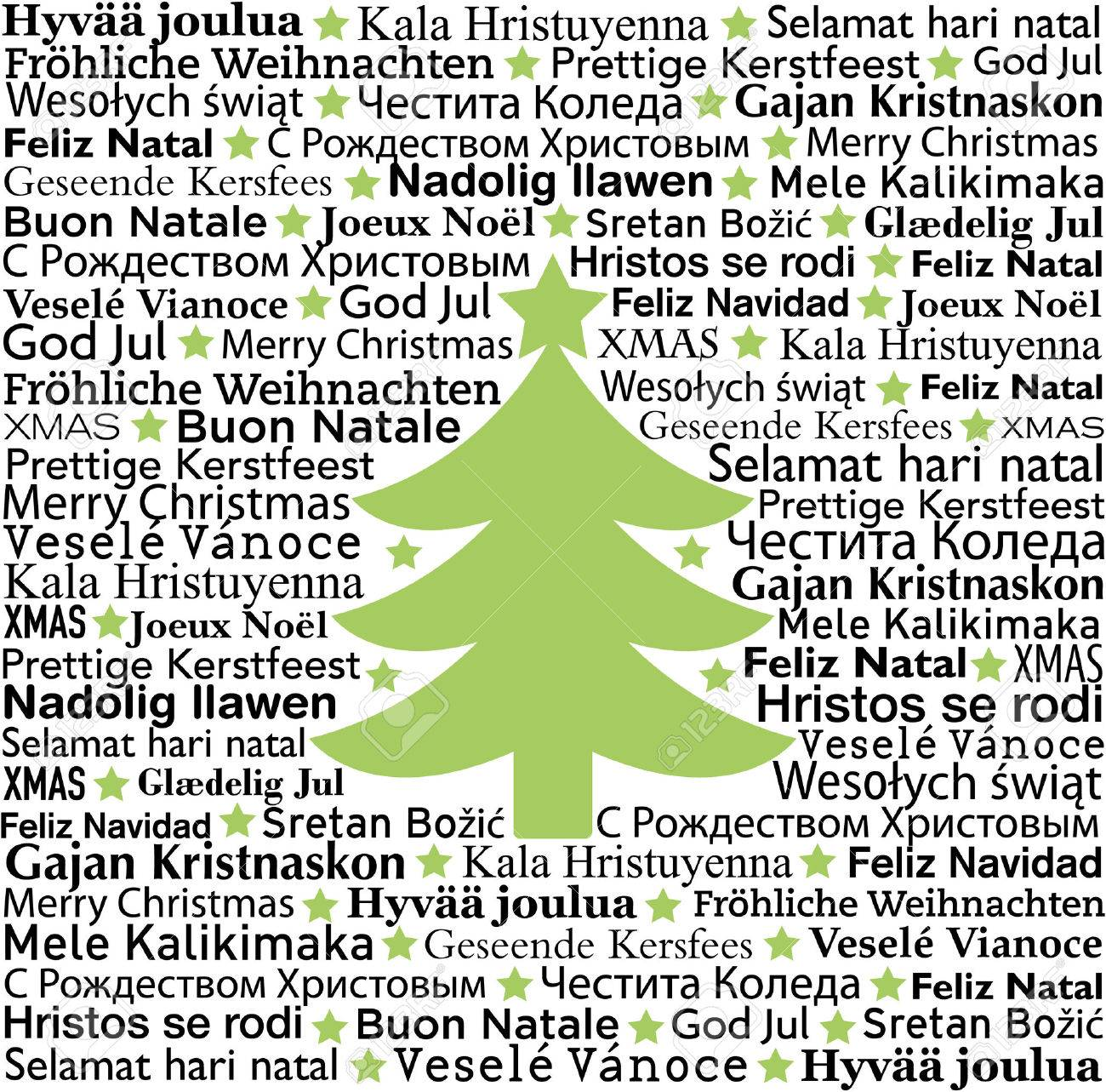 Merry Christmas In Different Languages, Typographic Background ...