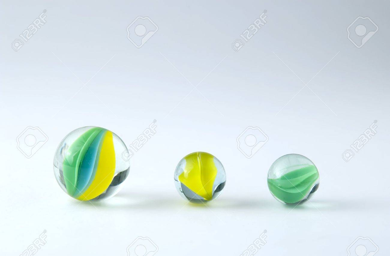 three marbles isolated on white backdrop Stock Photo - 454454