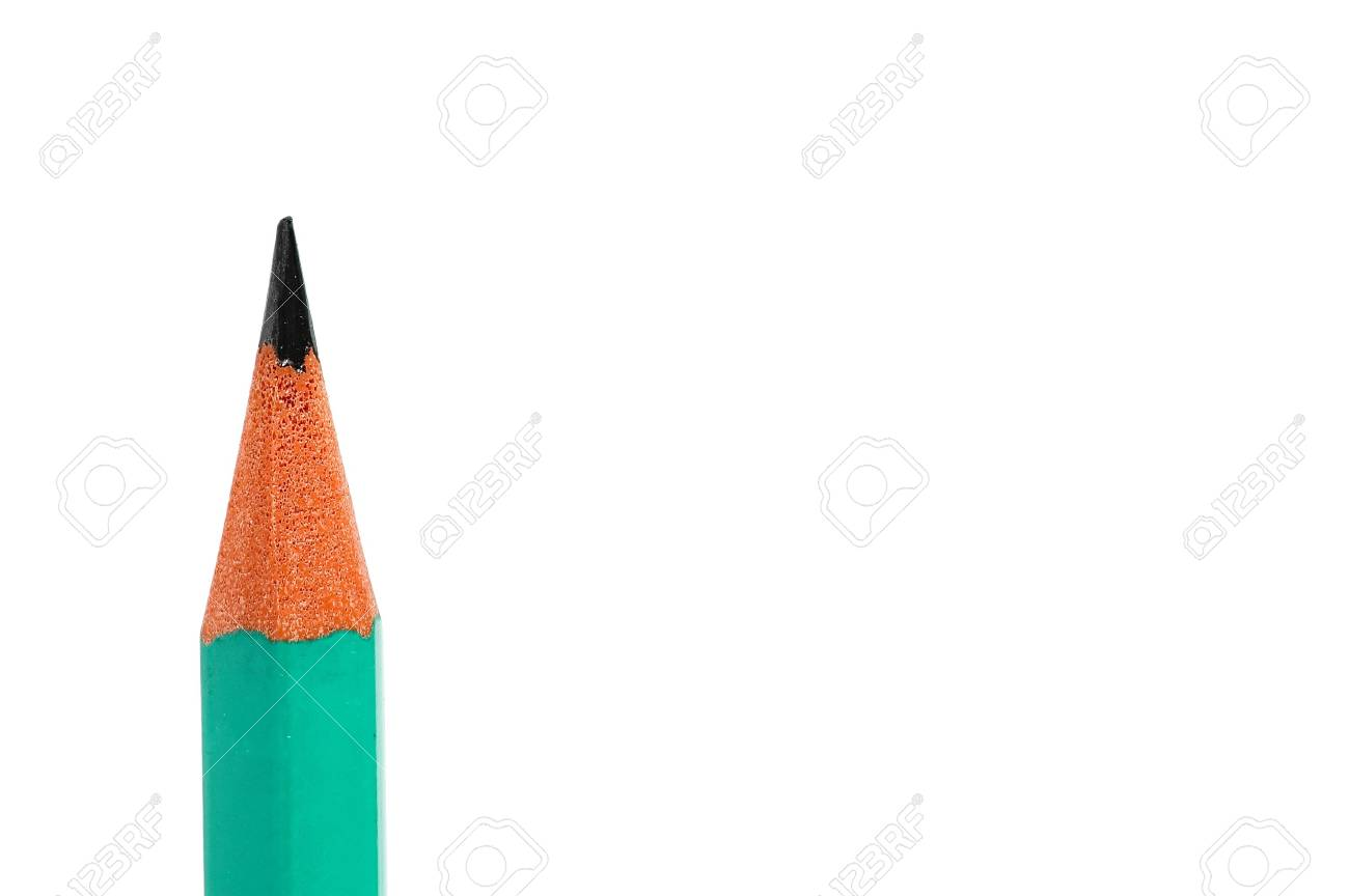 close-up of tip of pencil isolated on white background Stock Photo - 674315