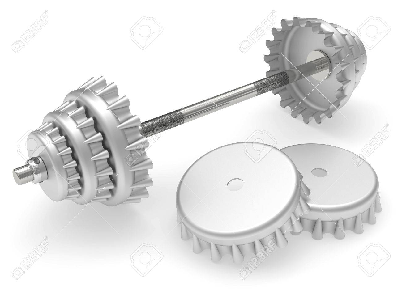 Barbell with beer corks instead disks rendered on white background Stock Photo - 8793425