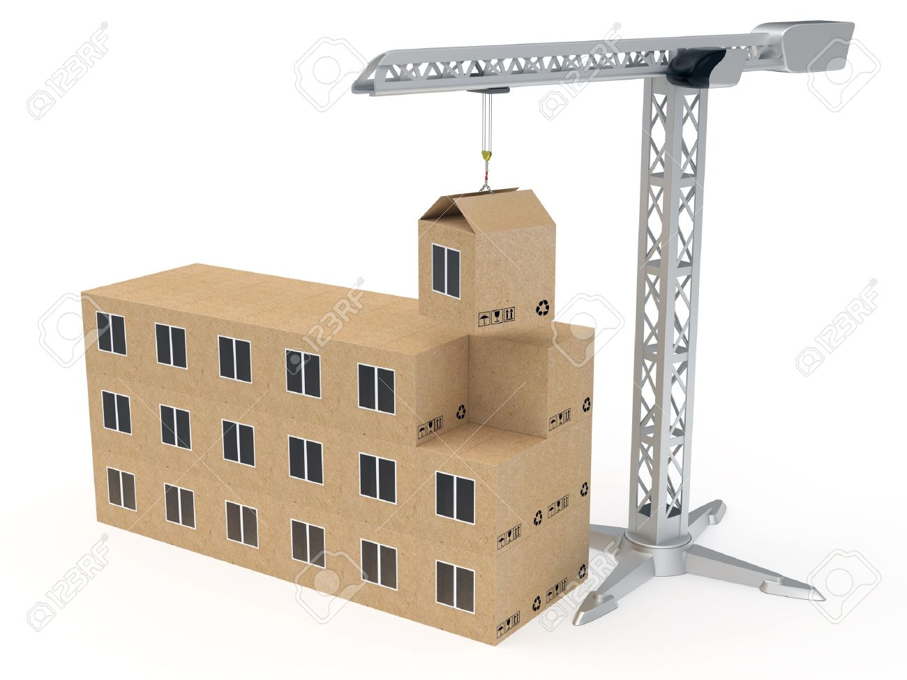 Tower crane building a house from cardboard boxes rendered with soft shadows on white background Stock Photo - 10711744