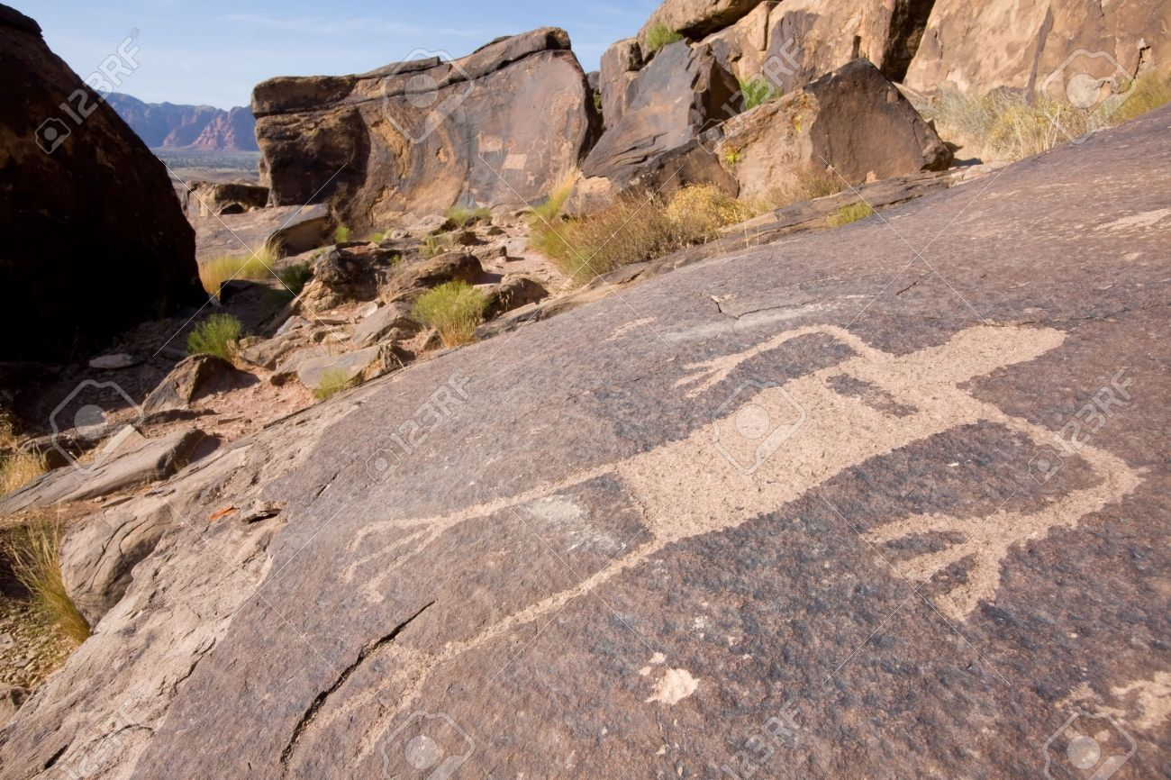 Petroglyphs Carved Onto Rock Surface By Prehistoric Native American