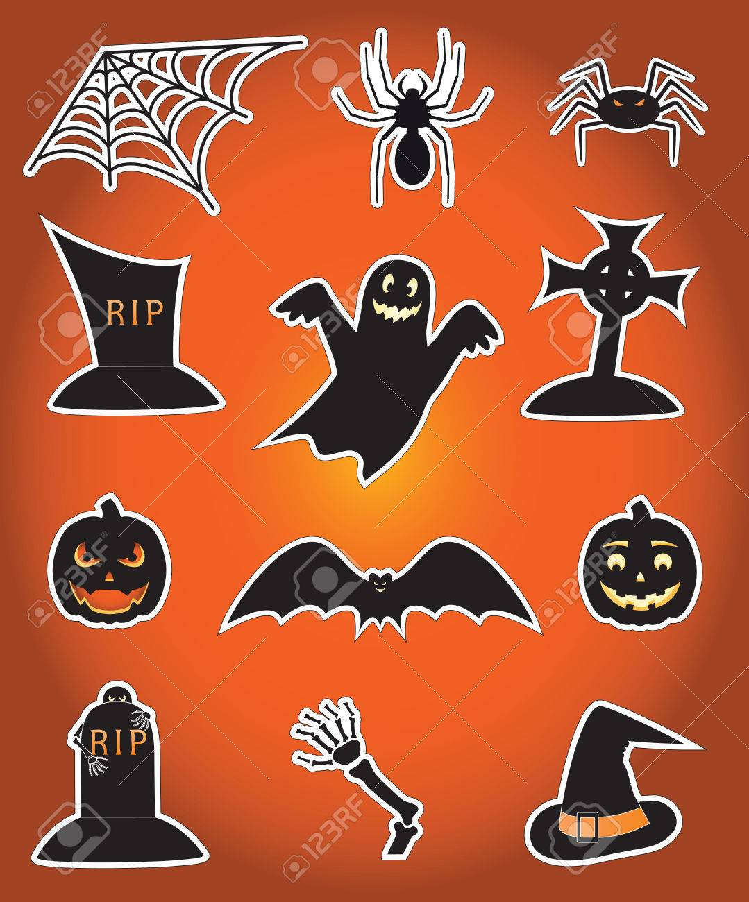 Twelve icons for Halloween, illustration Stock Vector - 5639804
