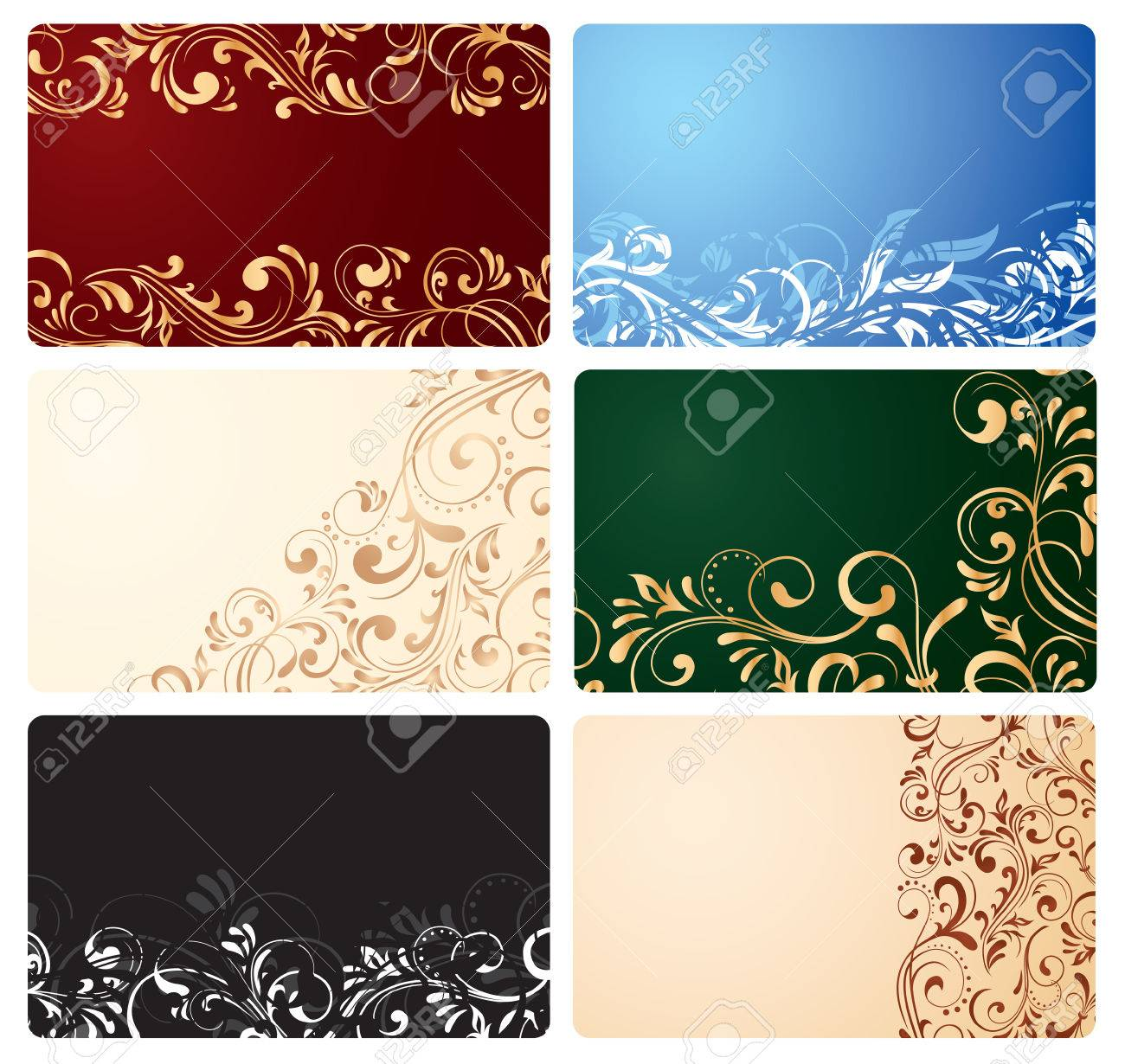 Set of business cards with ornate elements, illustration Stock Vector - 7478775