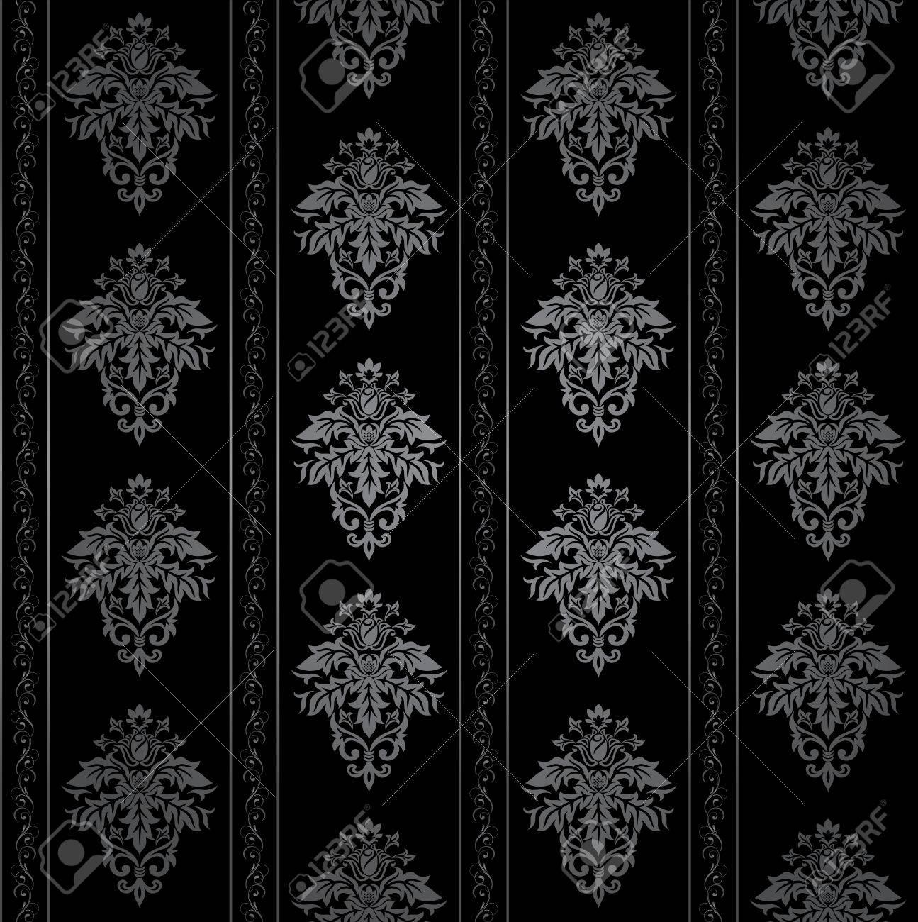 シームレスなゴシック様式の装飾的な壁紙 花柄 イラストのイラスト