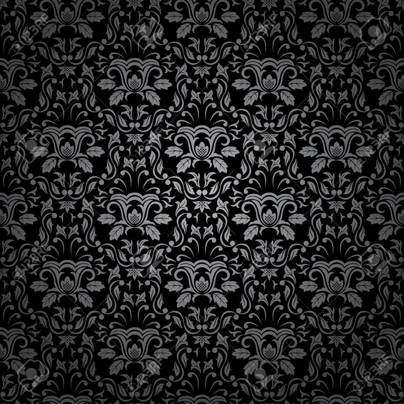 Seamless Gothic Ornamental Wallpaper Floral Pattern Illustration