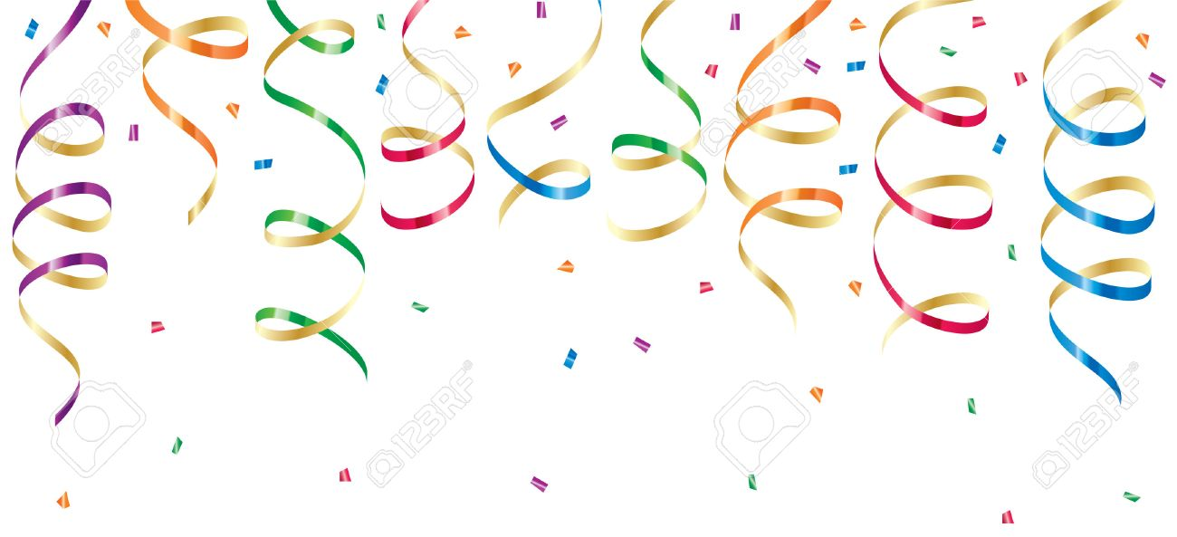 Background with party streamers and confetti, illustration Stock Vector - 7929866