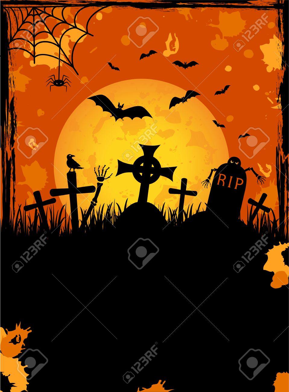 Grunge Halloween night background, illustration Stock Vector - 7929878