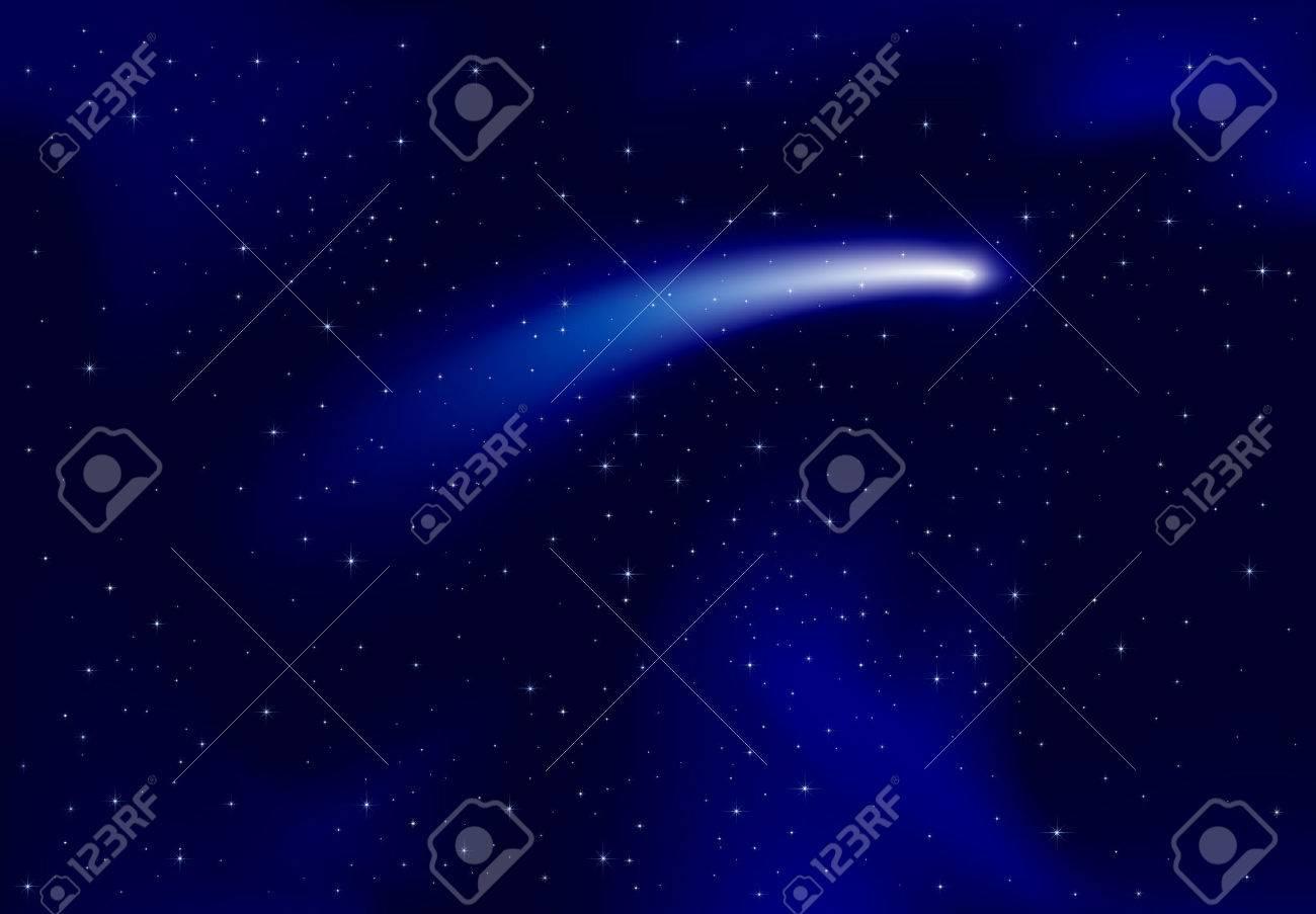 Comet Sky Comet on Dark Blue Sky