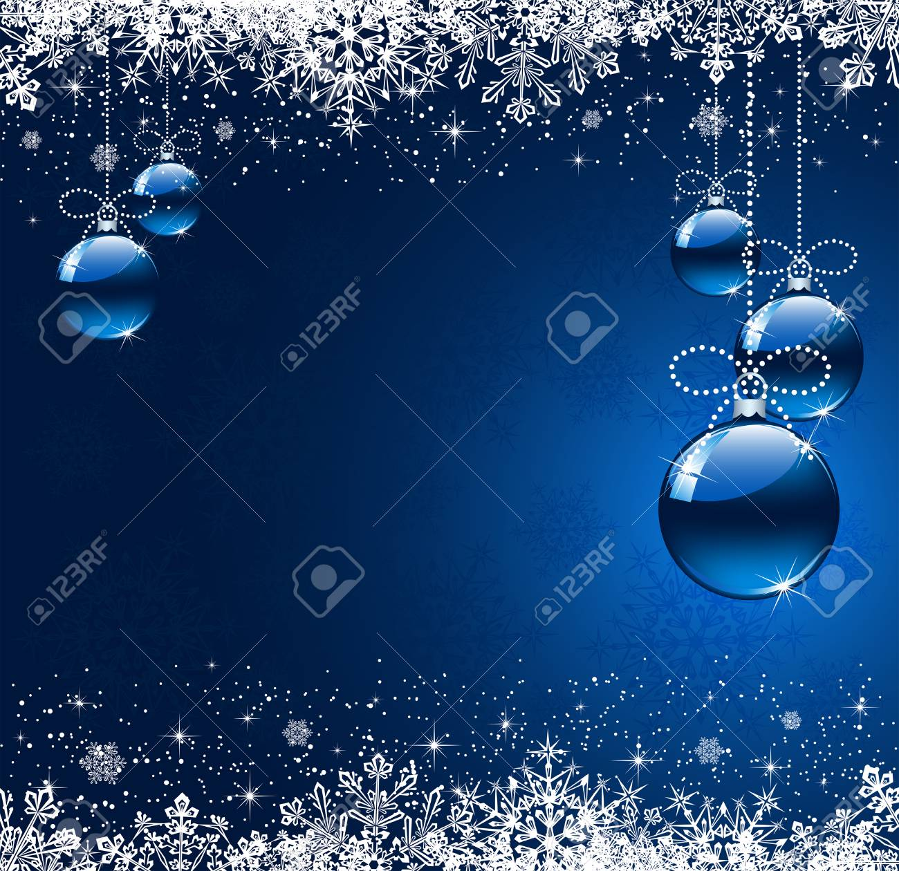 Background with snowflakes and Christmas balls, illustration Stock Vector - 8282648