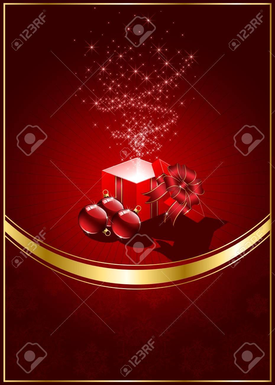 Open magic Gift box and Christmas balls, illustration Stock Vector - 8345951