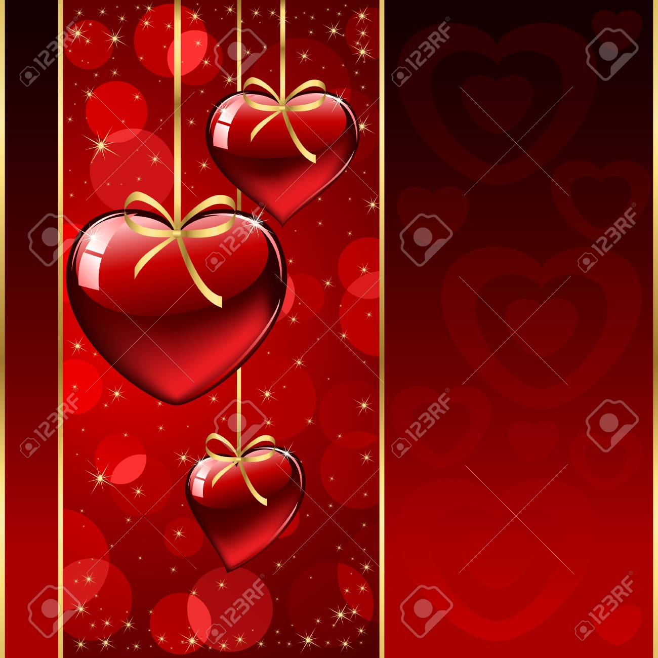Background with red Hearts, illustration Stock Vector - 8487415