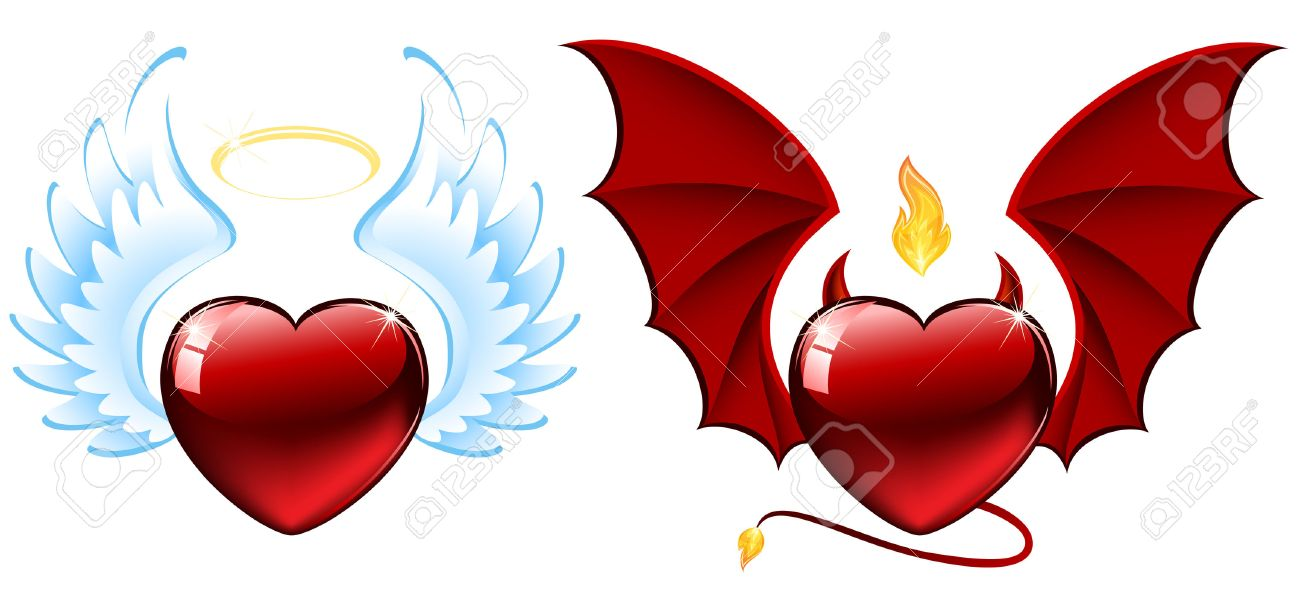 Good and evil hearts, illustration Stock Vector - 8504983