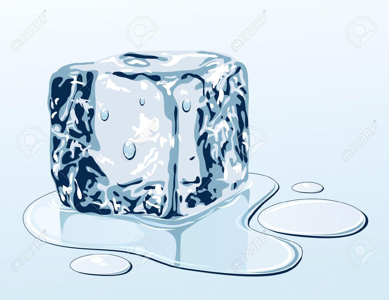 Ice cube on water surface, illustration Stock Vector - 8757845