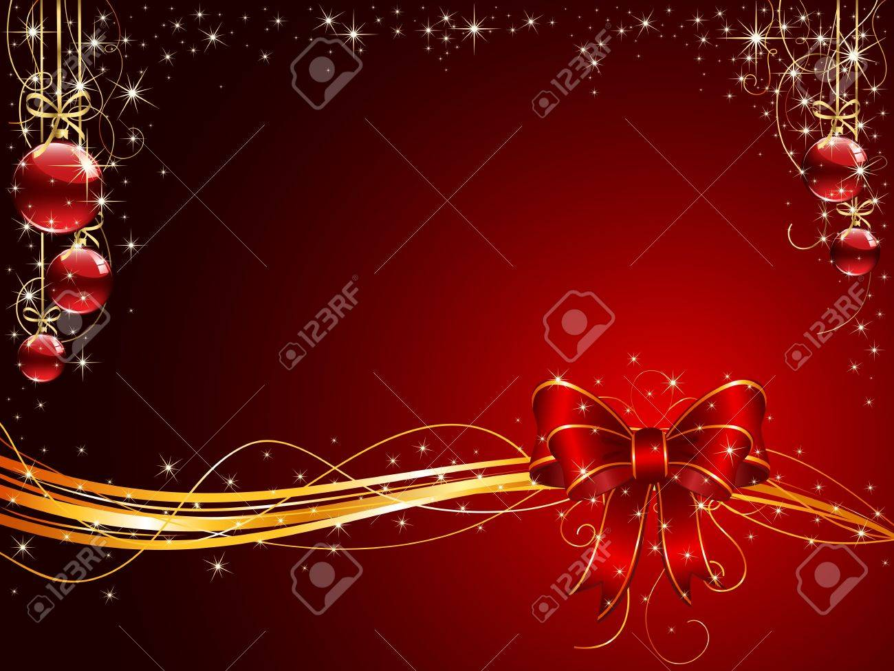 Background with red bow and Christmas balls, illustration Stock Vector - 9635282