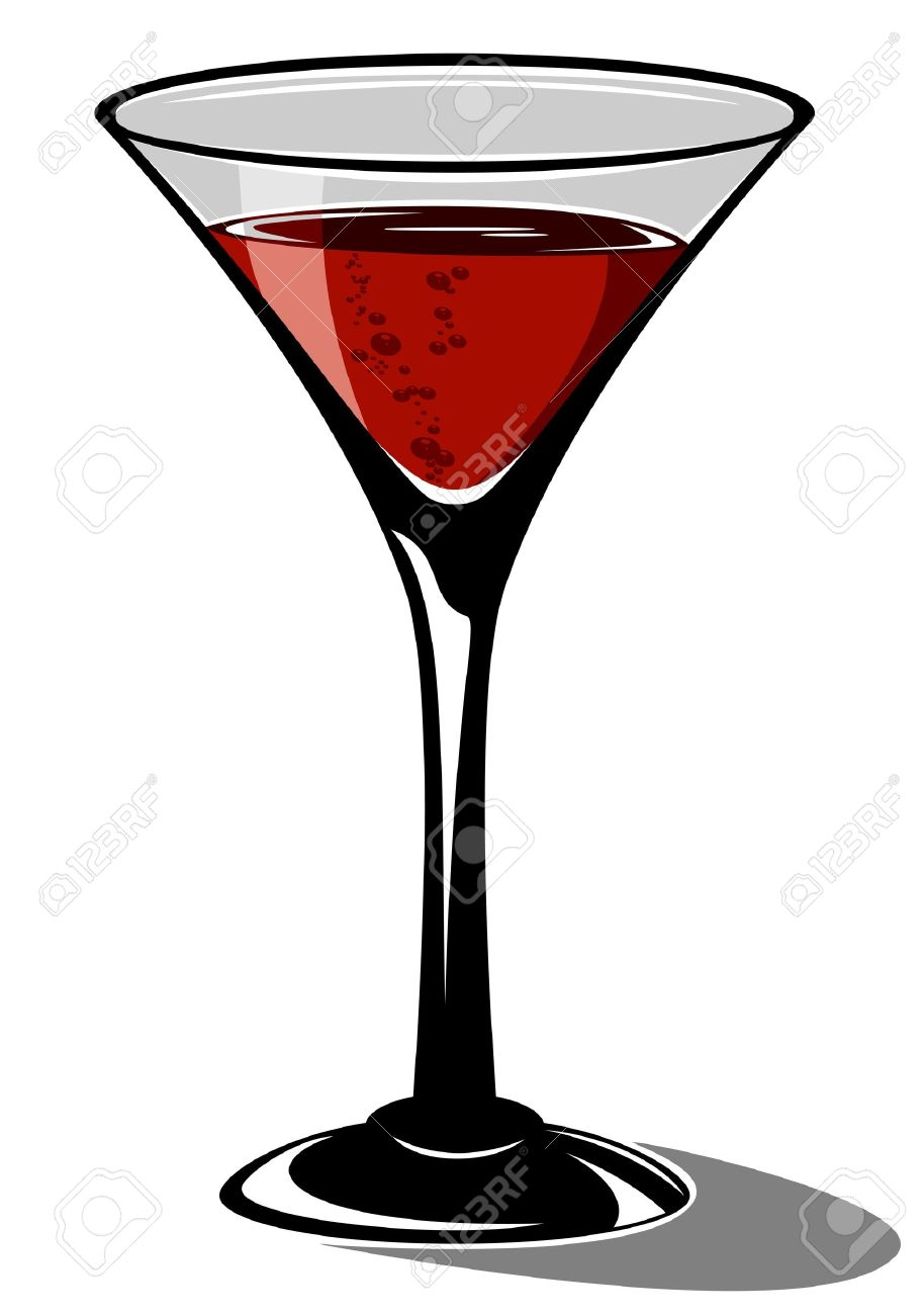 Red cocktail in a glass for martini on white background, illustration Stock Vector - 9716912