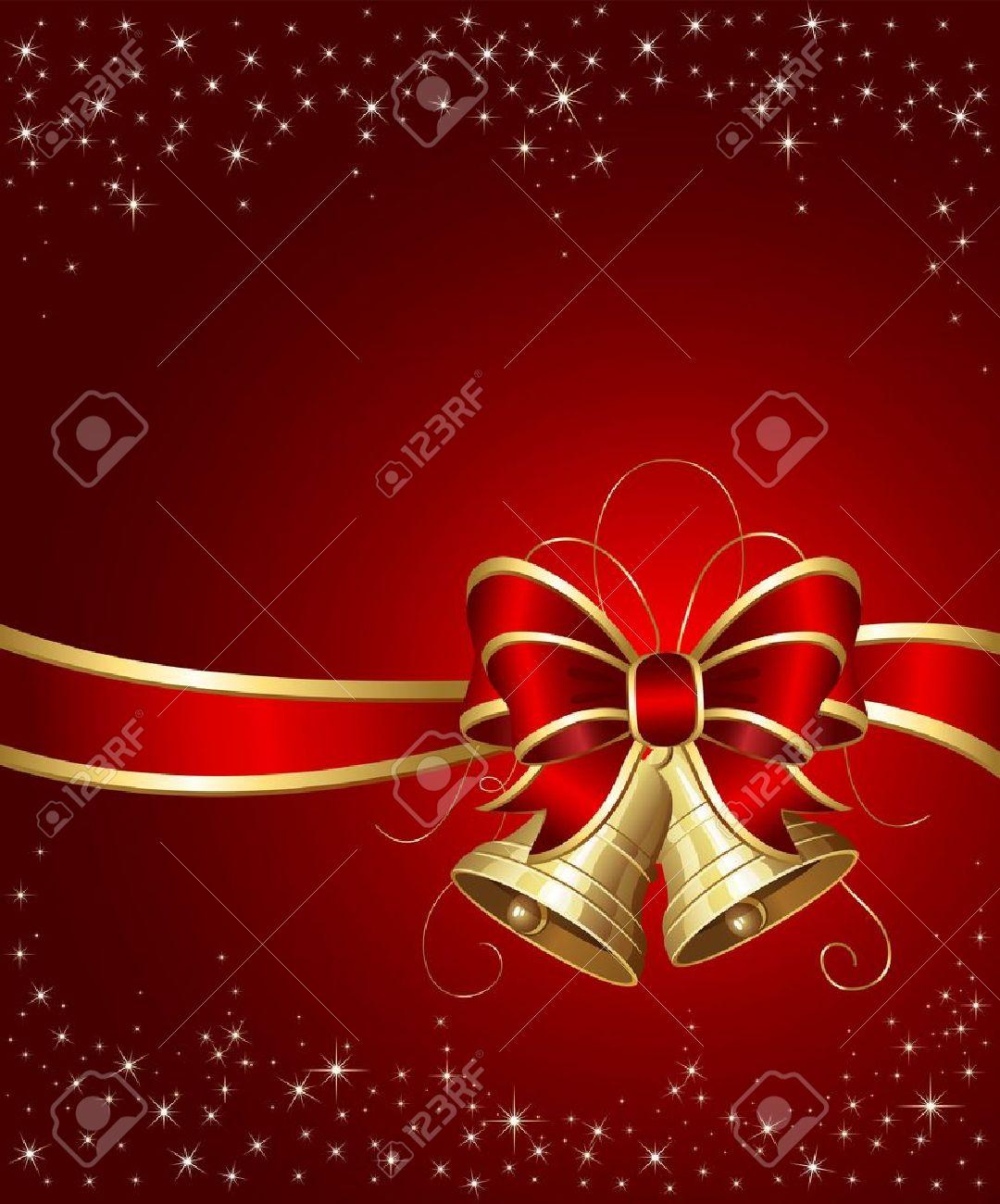 campanas de navidad con cinta sobre fondo rojo ilustracin foto de archivo 10726623 - Campanas Navideas