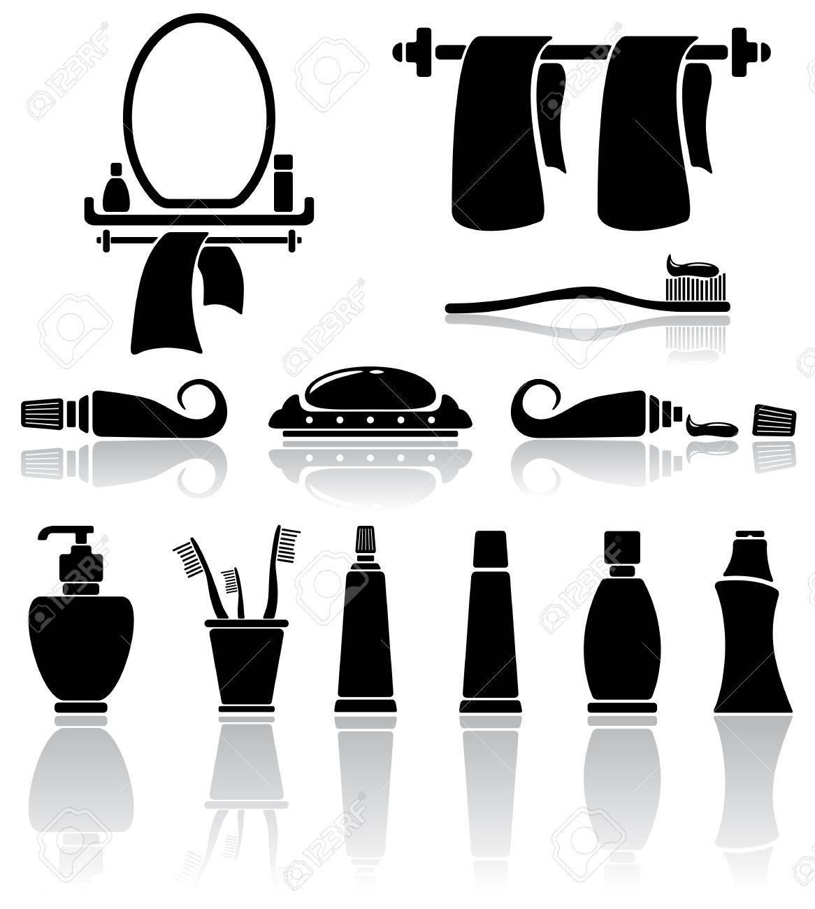 Set Of Black Bathroom Icons Illustration Royalty Free Cliparts. Bathroom Icon