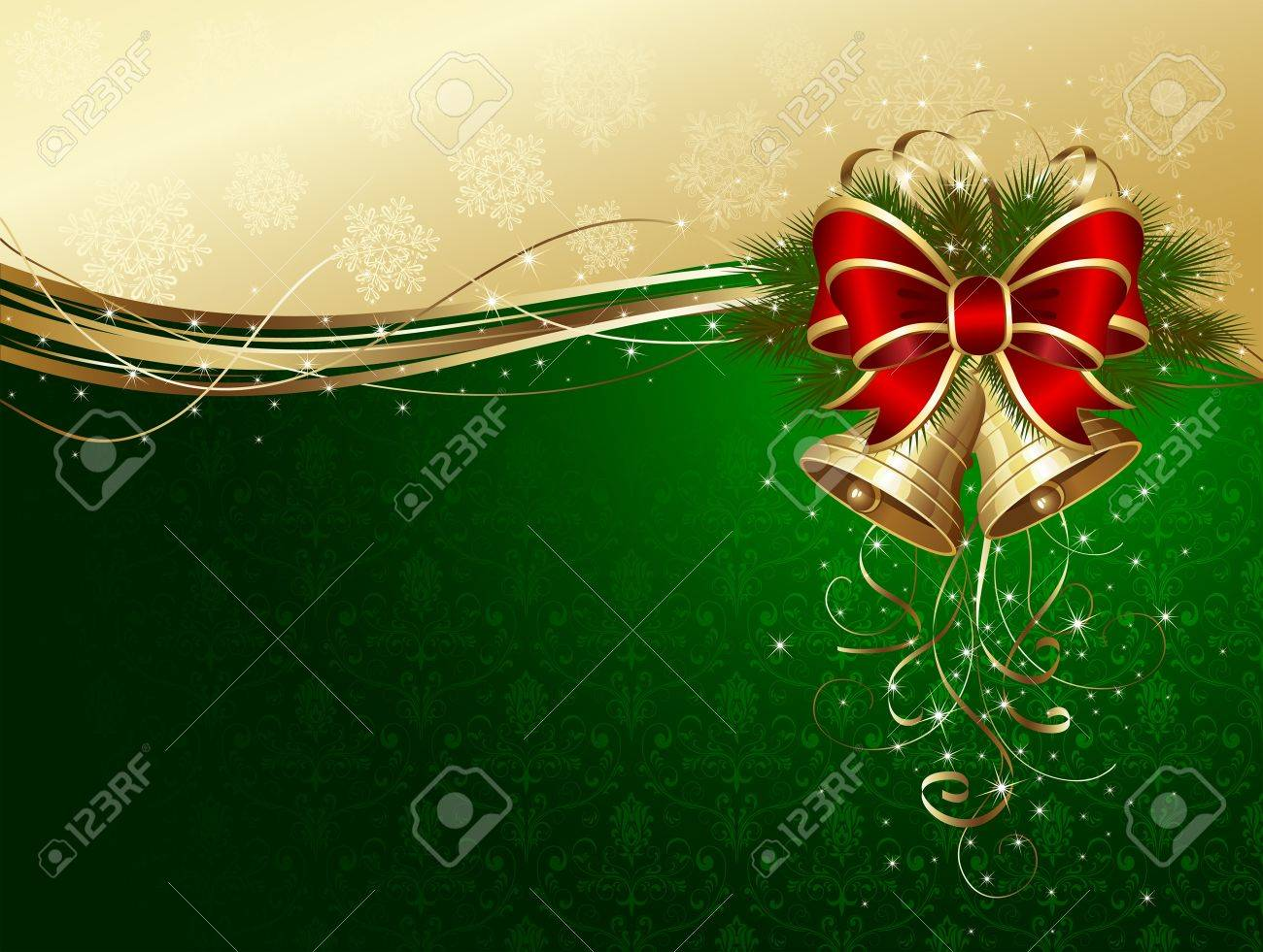 Christmas background with bells, bow, stars and snowflakes, illustration Stock Vector - 11373352