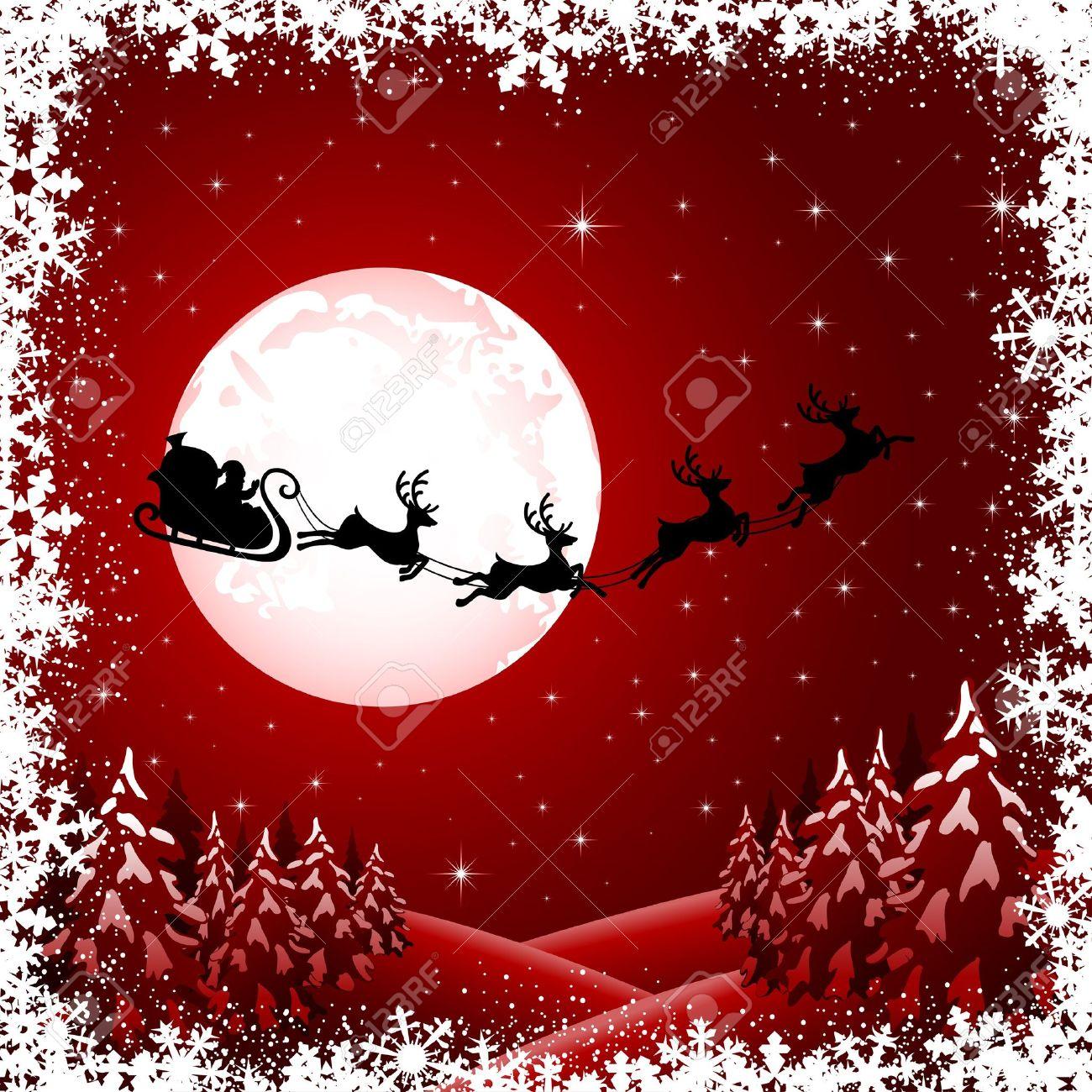 Immagini Babbo Natale Con Slitta.Sfondo Con Babbo Natale In Slitta L Albero Di Natale E Stelle Illustrazione