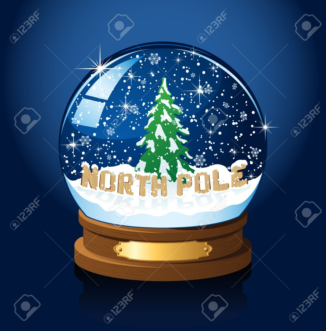 Snow Globe With North Pole, Christmas Tree And The Falling Snow ...